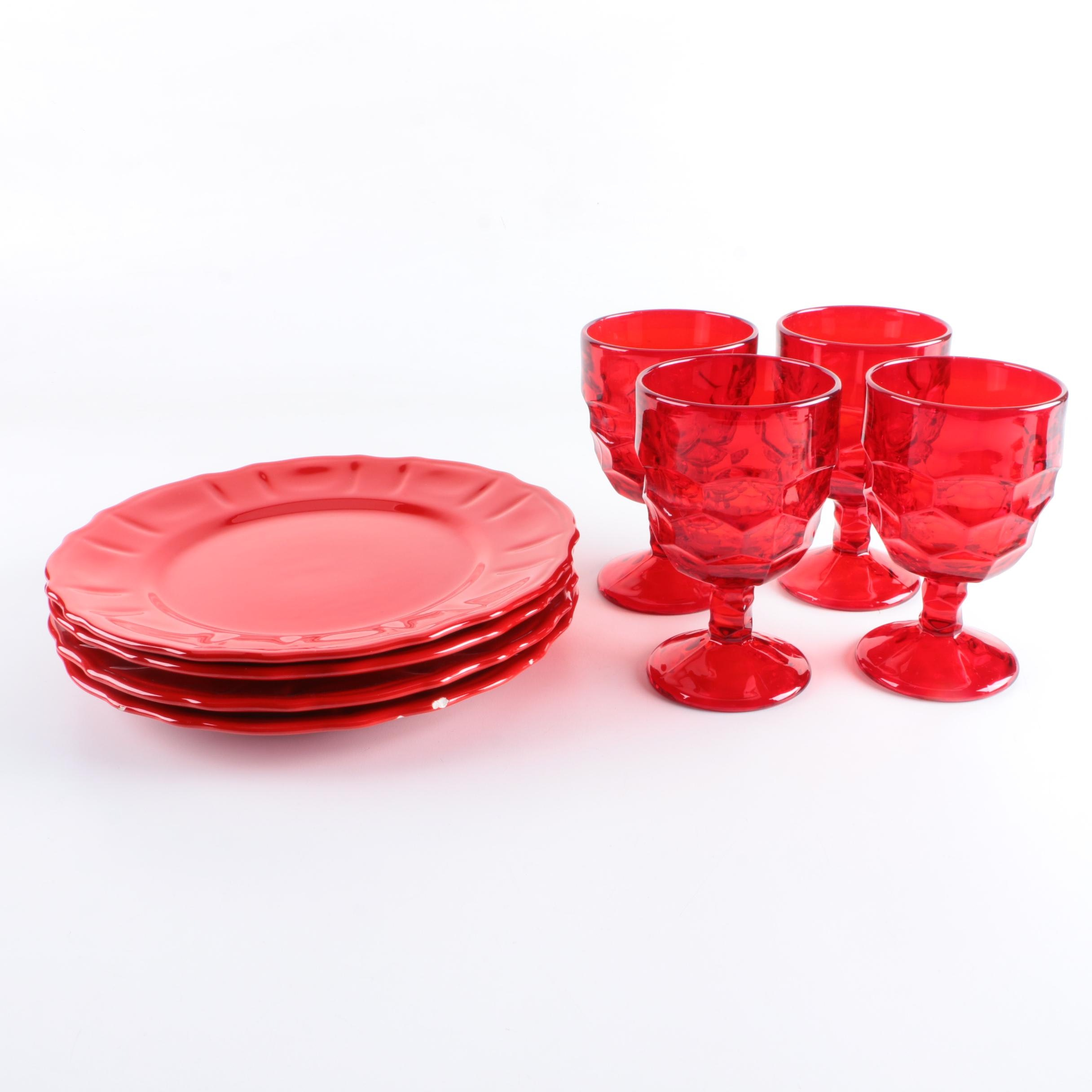 """Viking """"Georgian"""" Ruby Red Water Goblets and Italian Plates"""