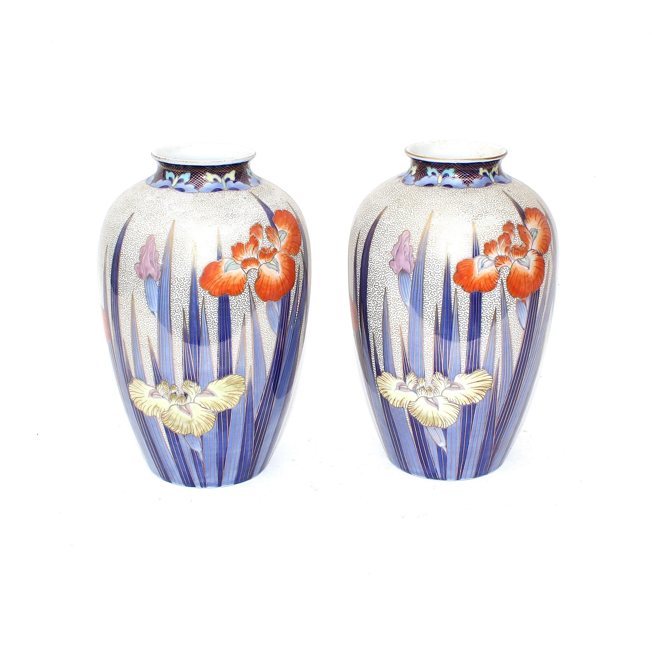 Pair of Japanese Fukagawa Porcelain Floral Vases