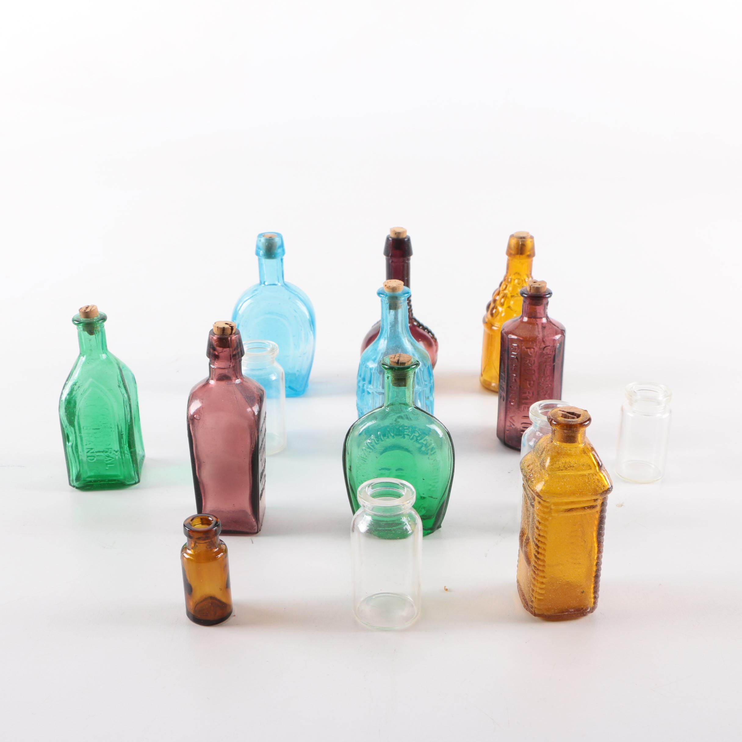 Vintage Colored Glass Bottles