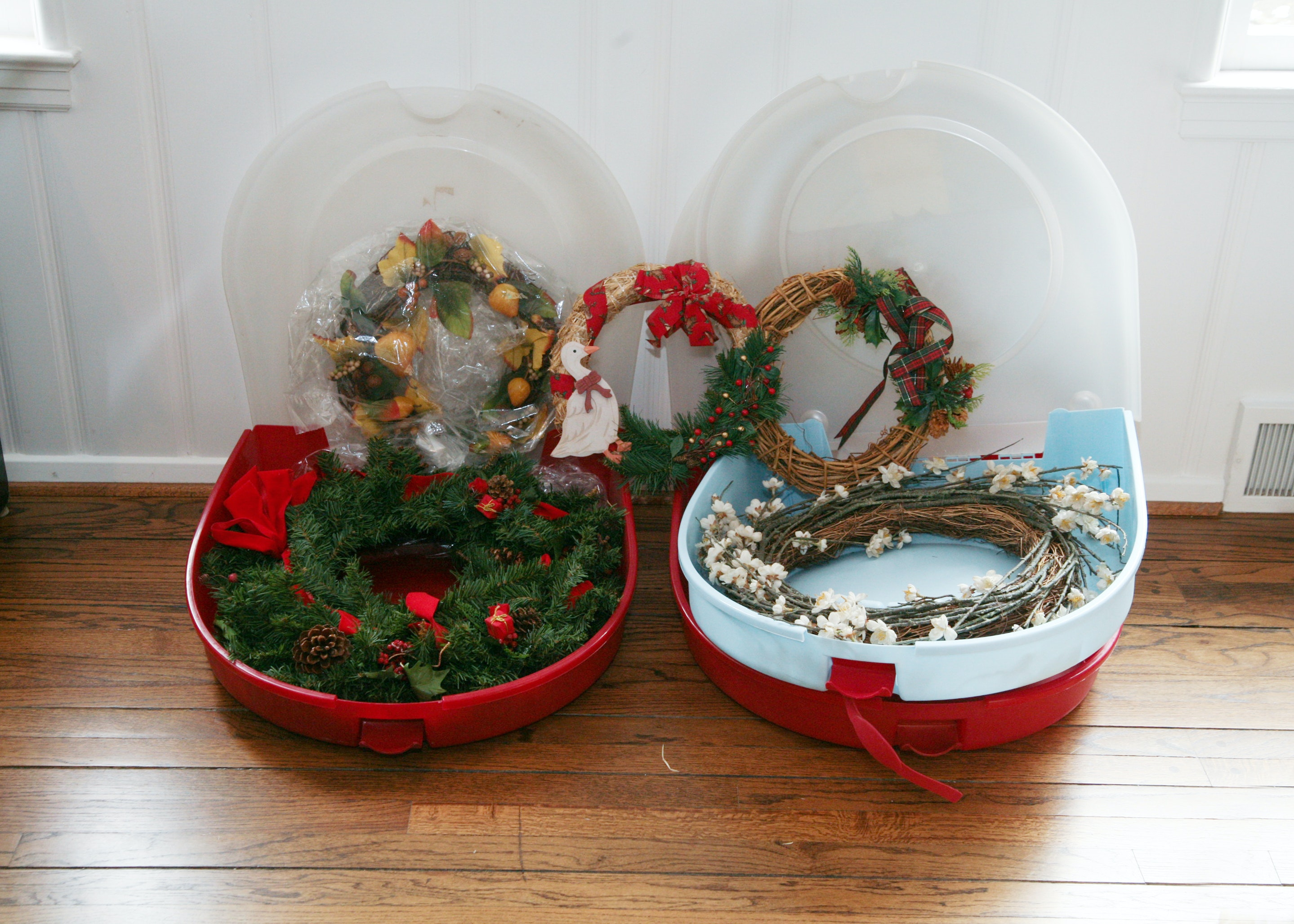 Christmas Wreaths and Storage Cases