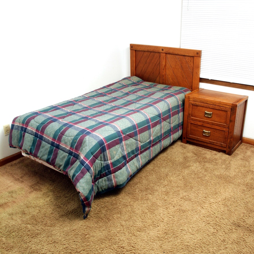 . Circa 1980s  Windjammer  Twin Size Bed Frame and Nightstand by Young Hinkle