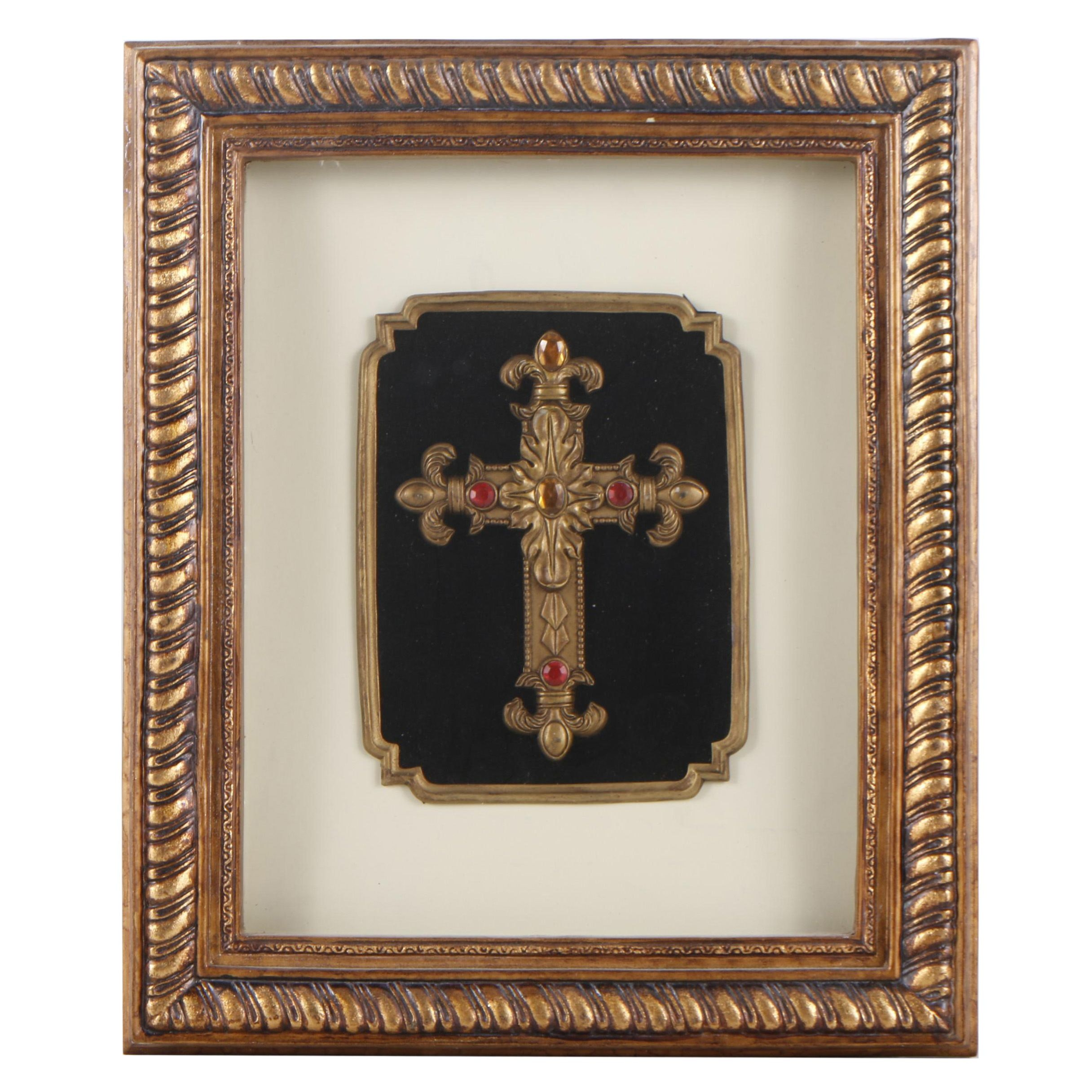 Framed Fleur-de-Lis Cross with Faceted Plastic Stone Embellishments