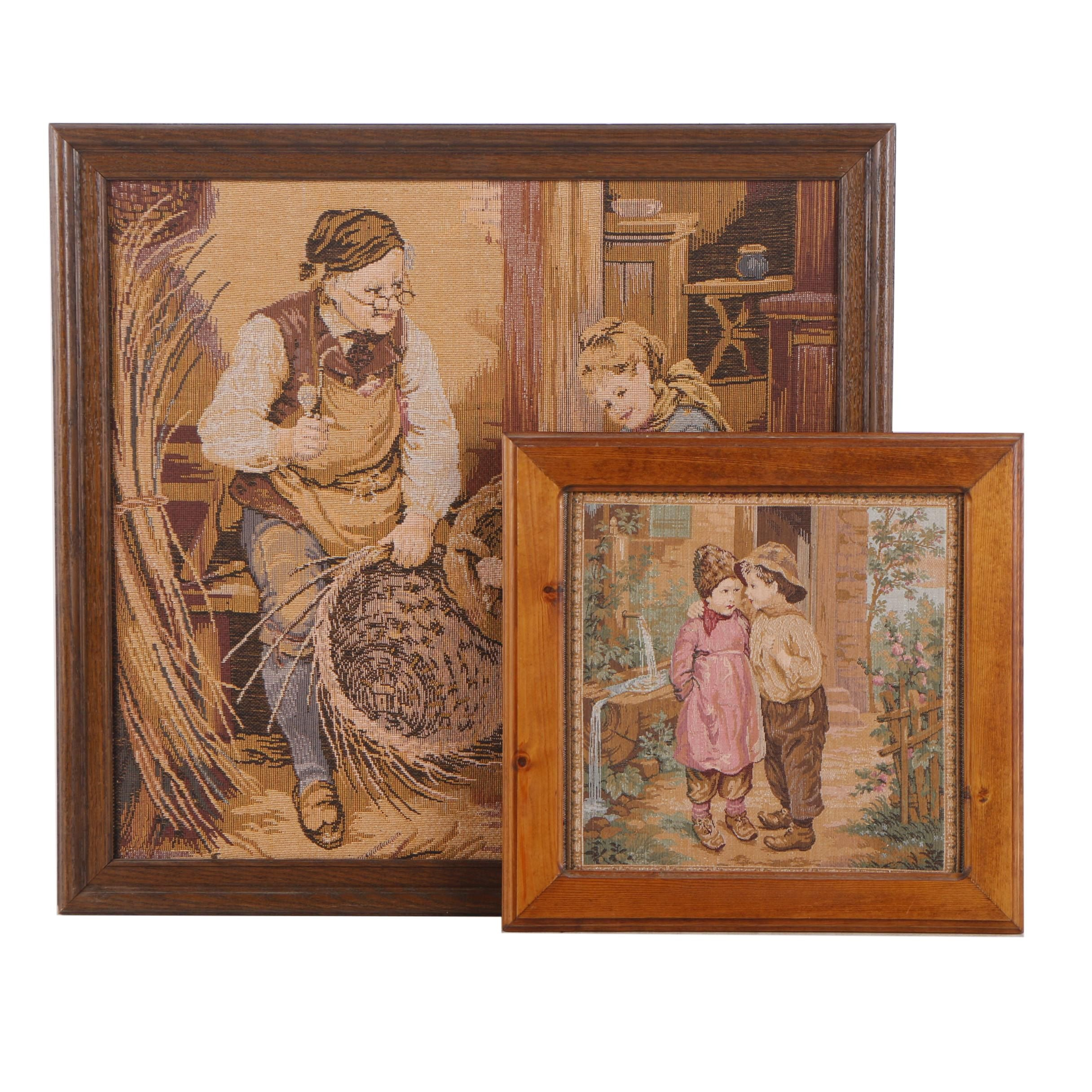 Woven Images of Children and Basket Weaver
