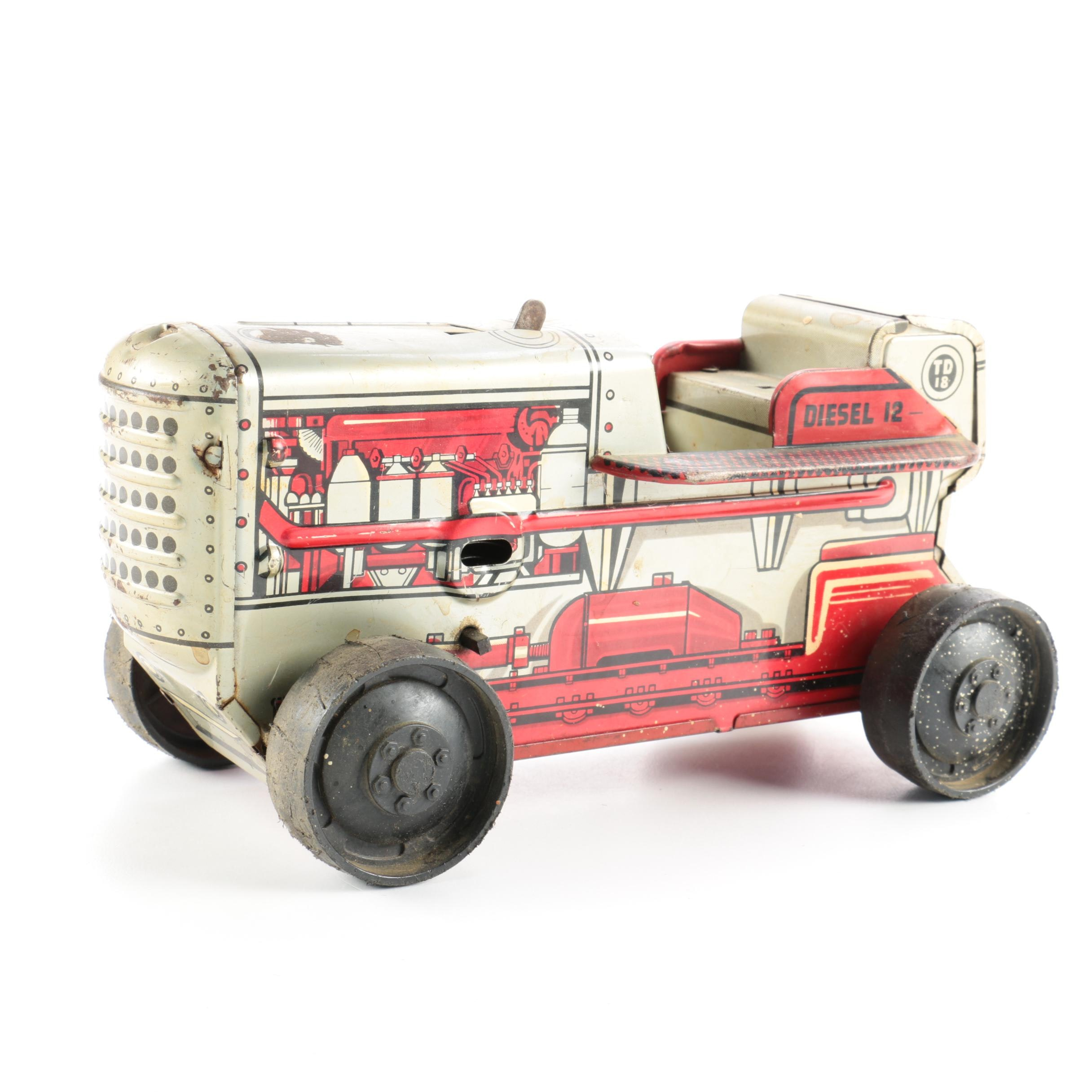 1950s Tin Litho Diesel Tractor Wind-Up Crawler by Marx