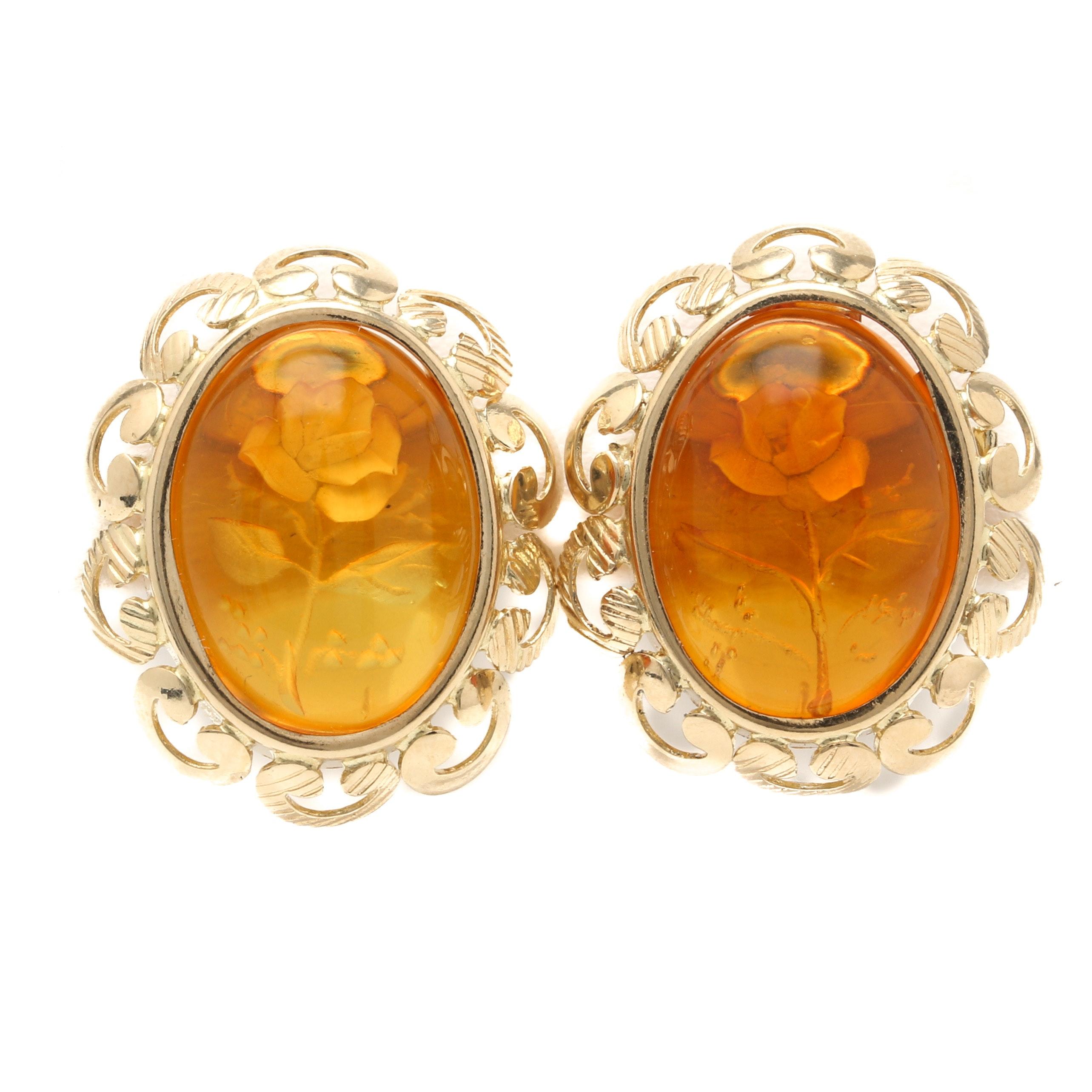 Italian 14K Yellow Gold Amber Intaglio Rose Earrings