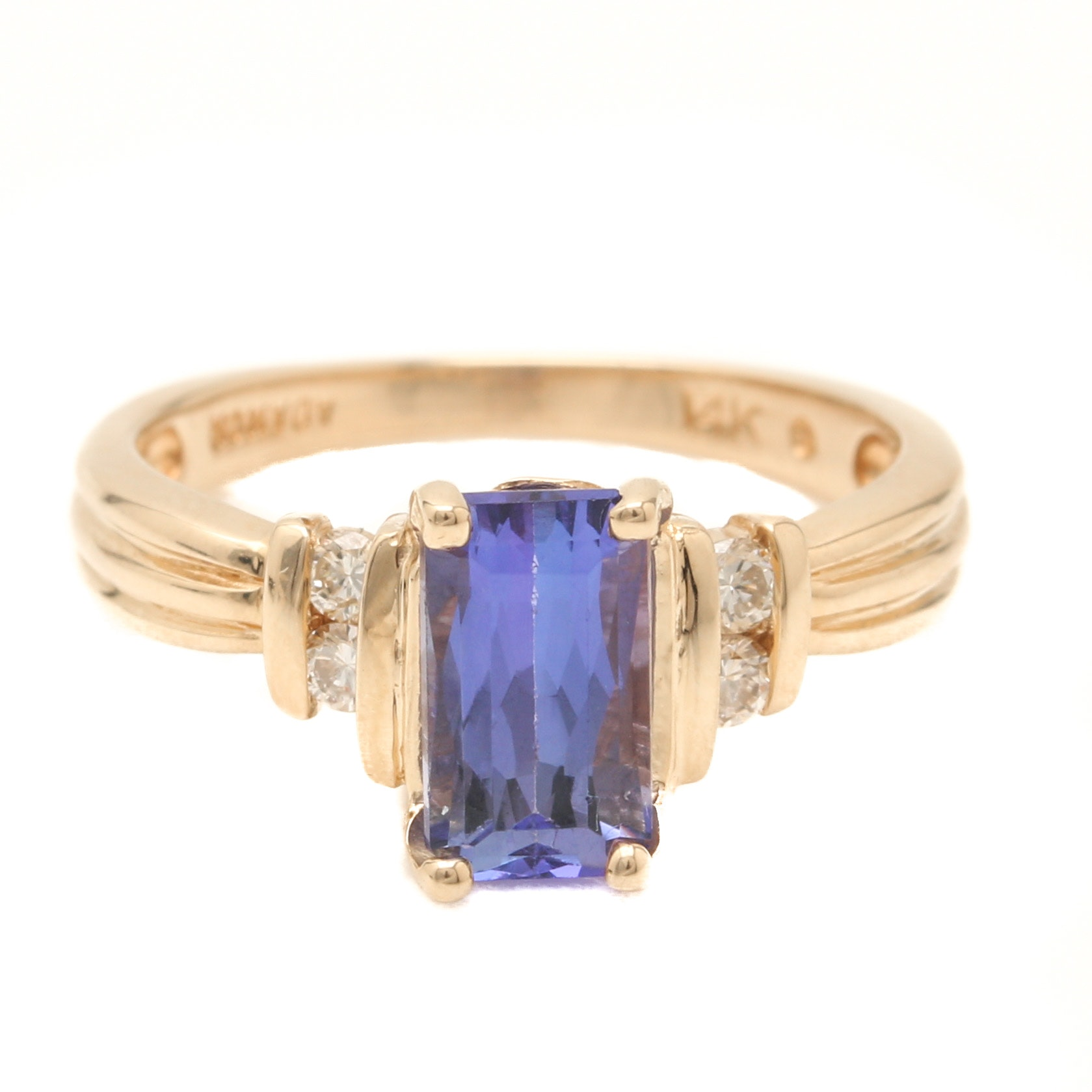Adamor 14K Yellow Gold Tanzanite and Diamond Ring