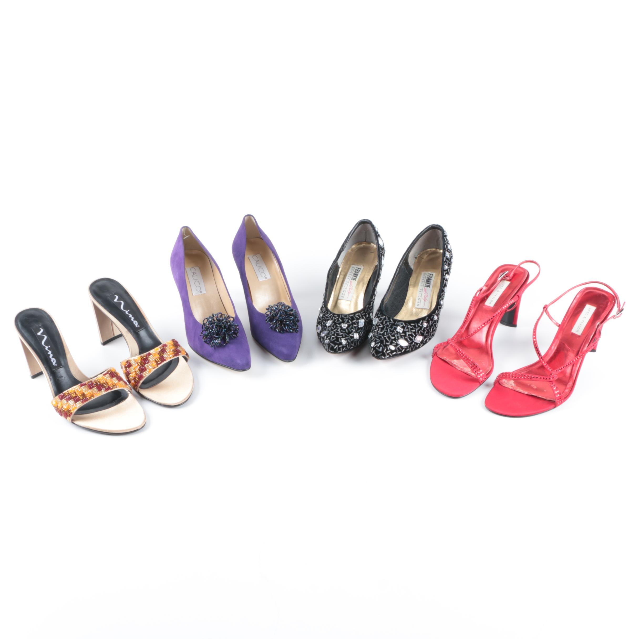 Women's Beaded and Rhinestone Heels Including Lord & Taylor and Beverly Feldman