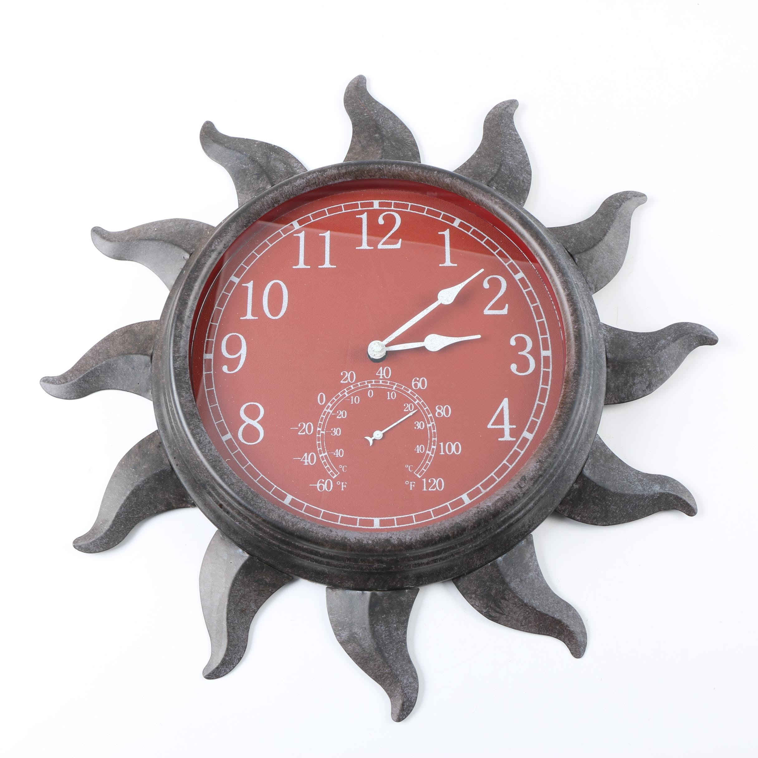 Sun Shaped Wall Clock with Thermometer