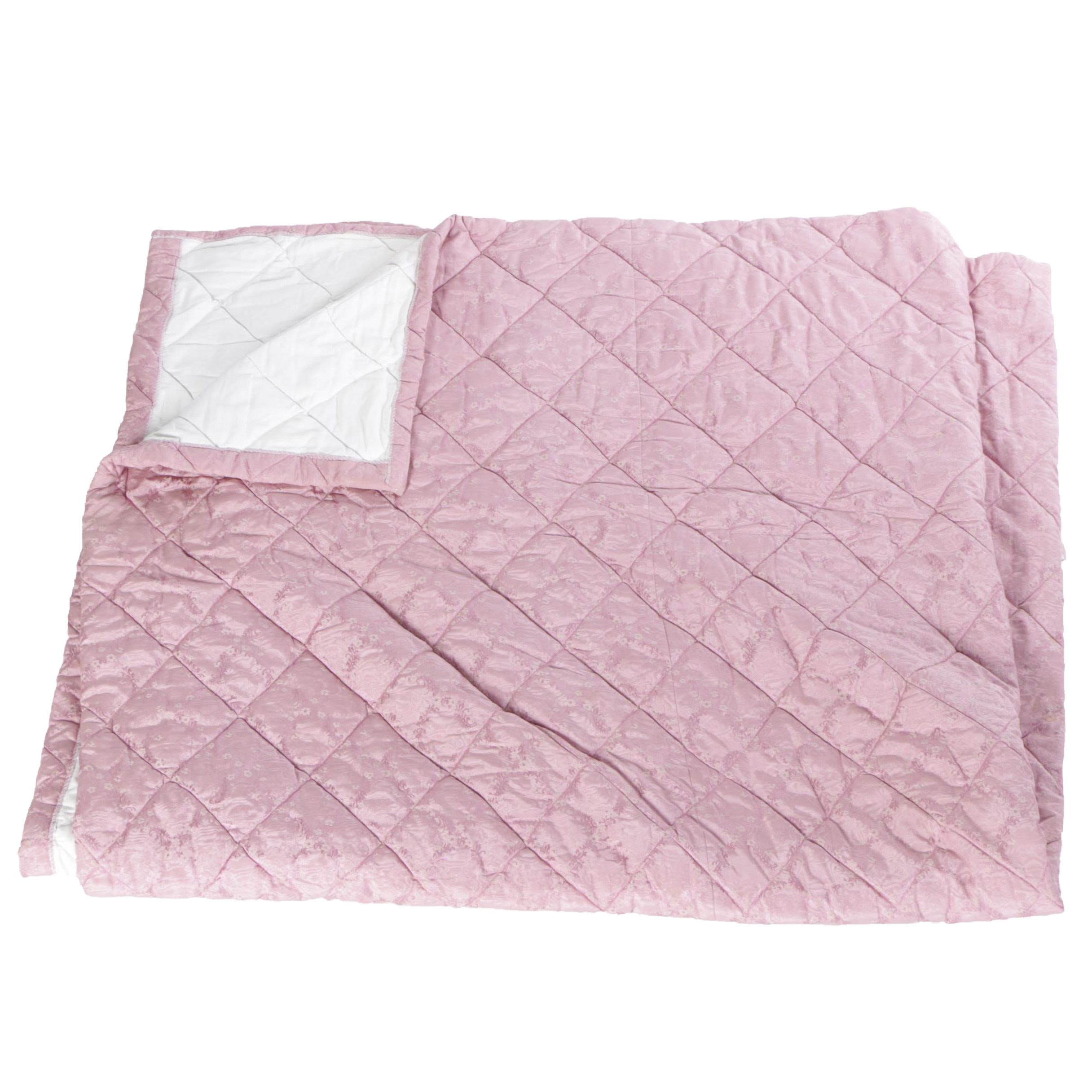 King Sized Pink Floral Quilted Comforter