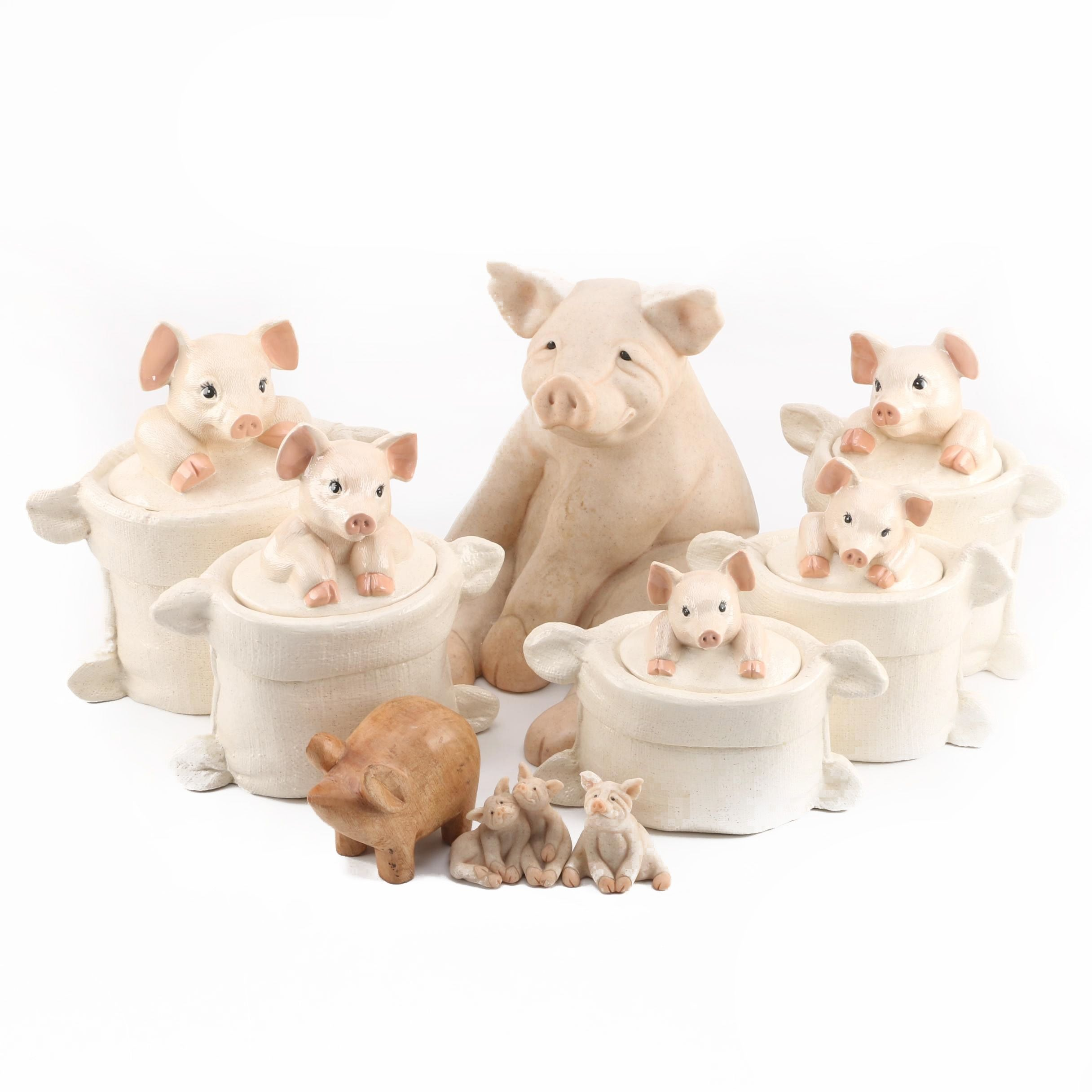 Pig Figurines and Containers
