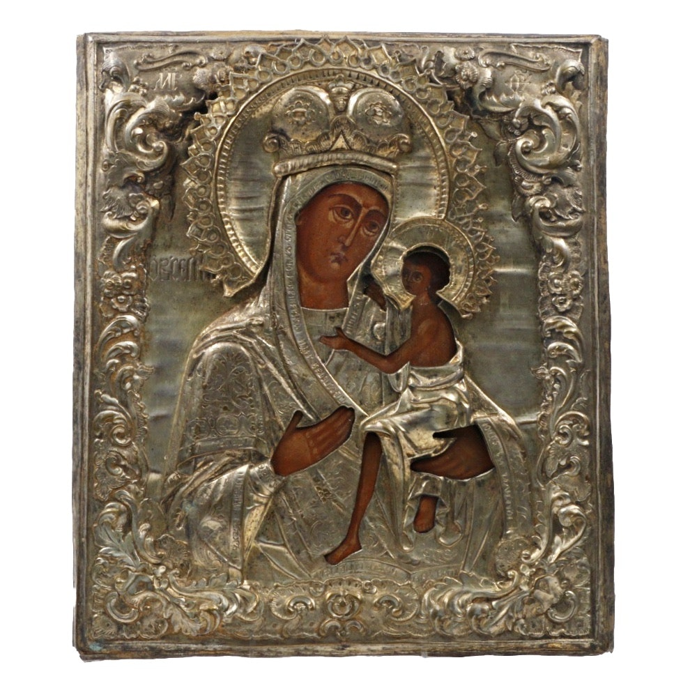 19th Century Russian School Theotokos (Mother of God) Icon with Brass Riza
