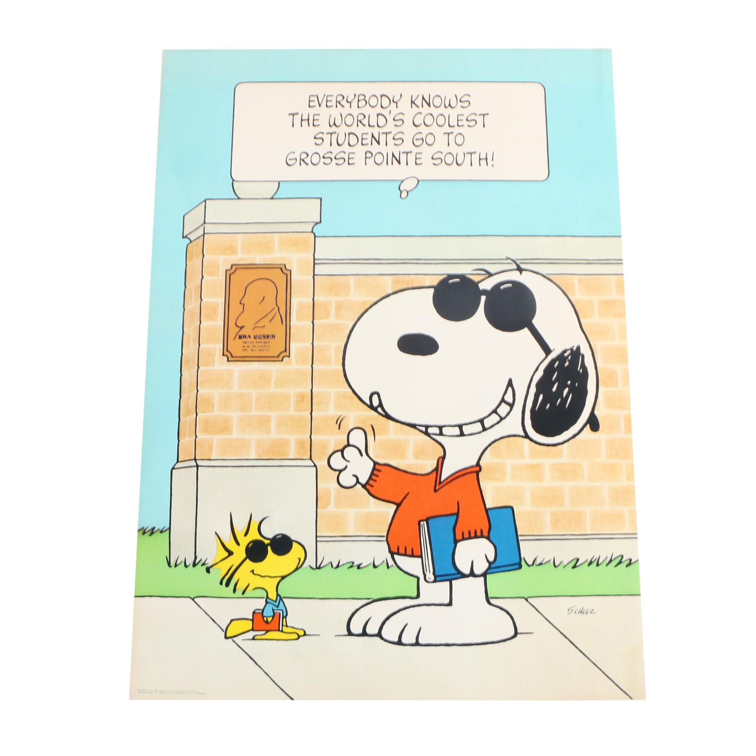 Offset Lithograph After Charles Schulz's Illustration of Snoopy as Joe Cool