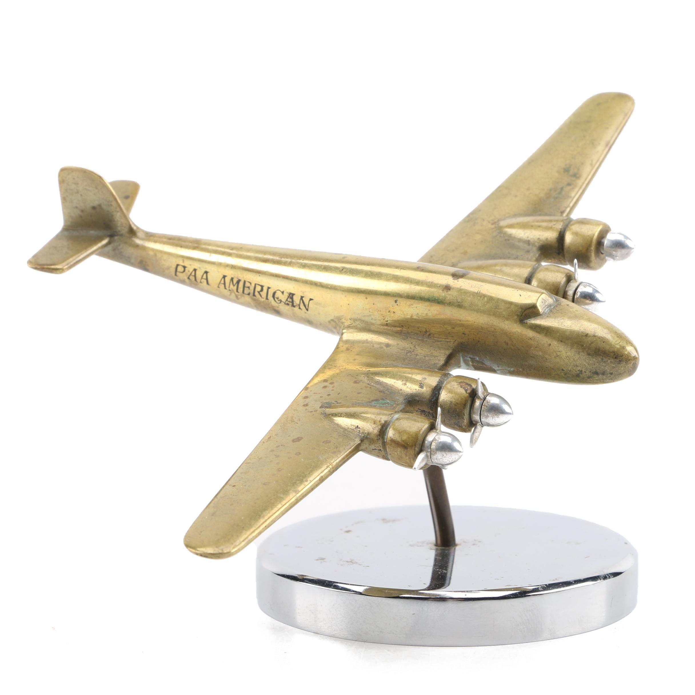 Vintage Pan American Model Airplane on Stand
