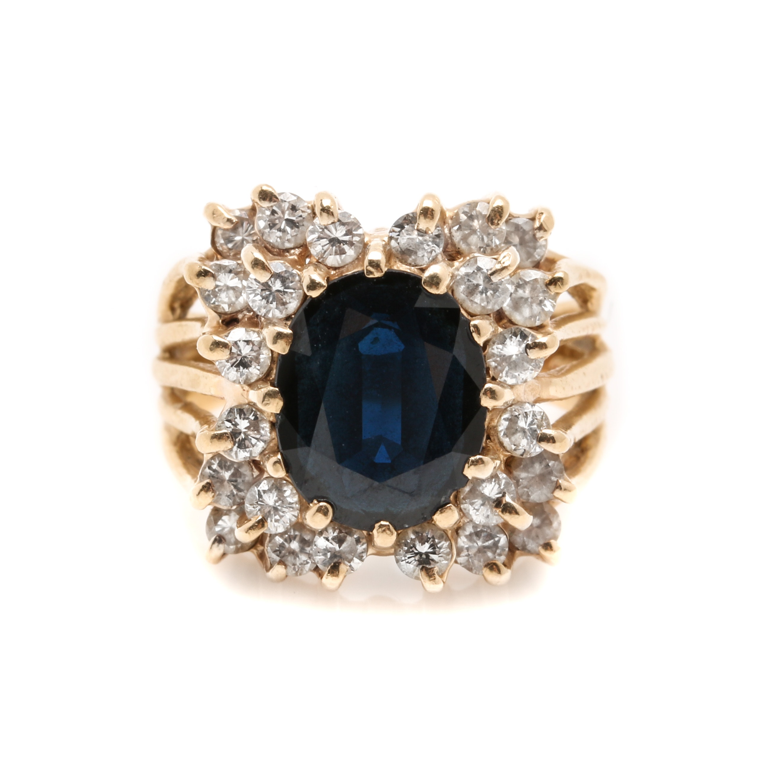 14K Yellow Gold Blue Sapphire and 0.96 CTW Diamond Cluster Ring