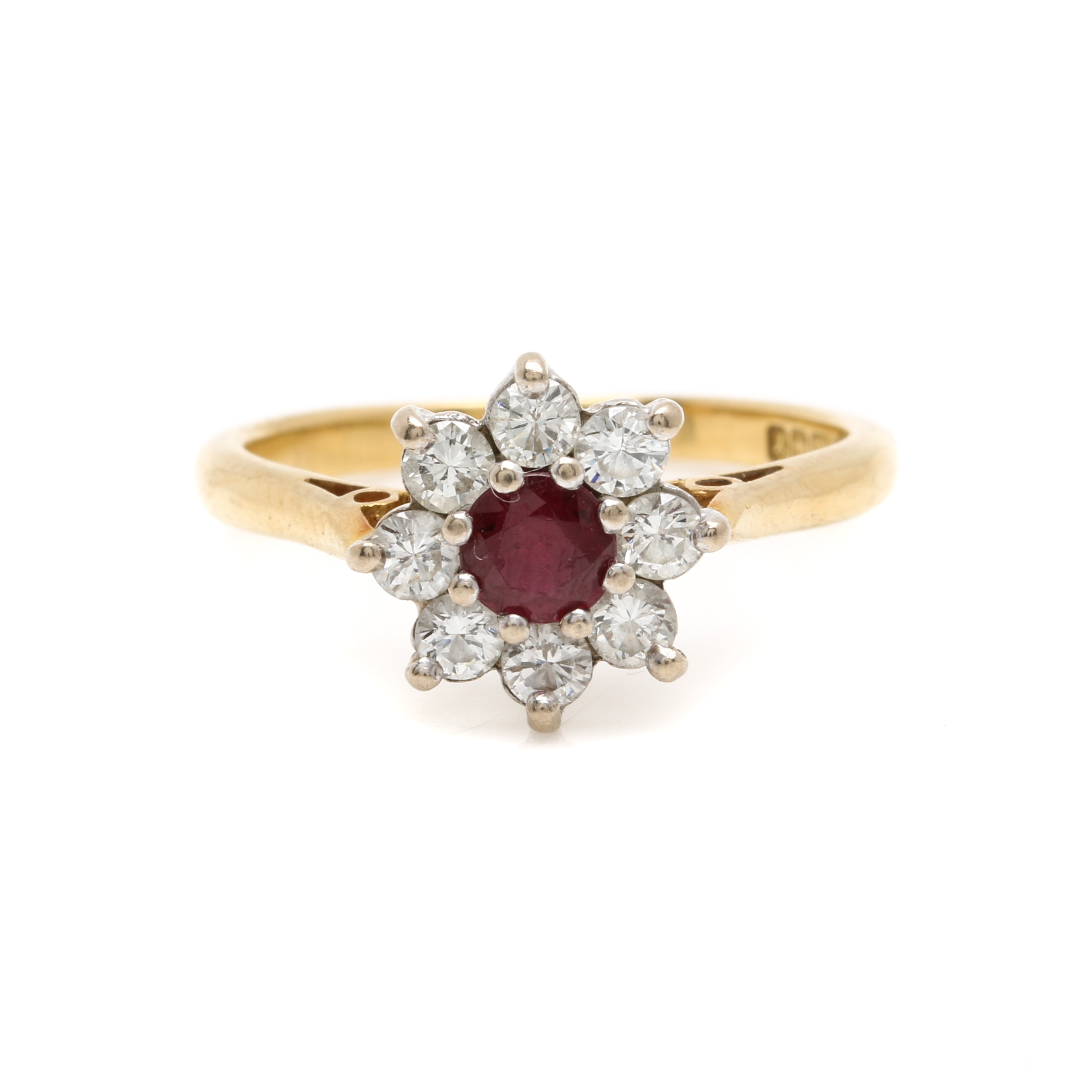 Circa 1974 18K Yellow Gold Ruby and Diamond Floral Ring