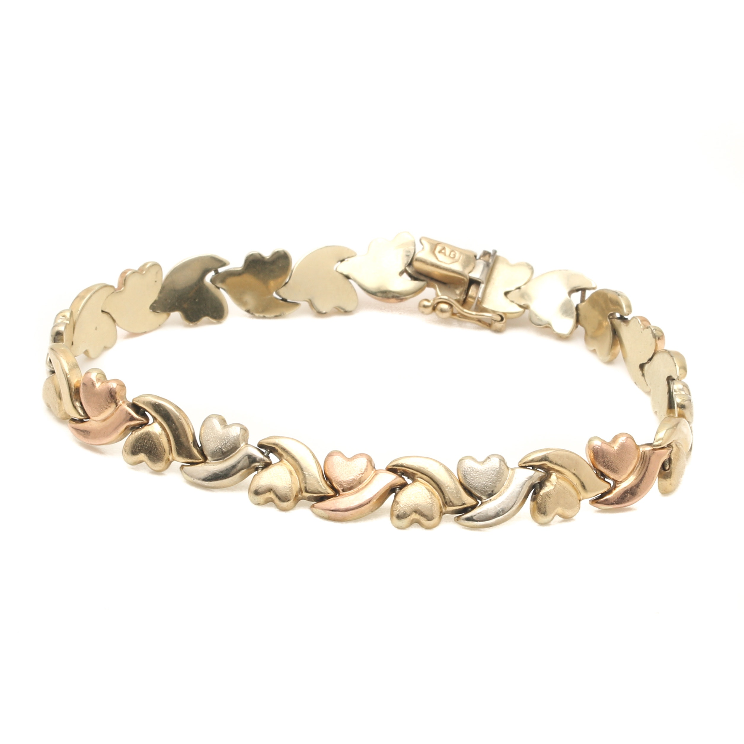 14K Tri-Color Gold Heart Link Bracelet