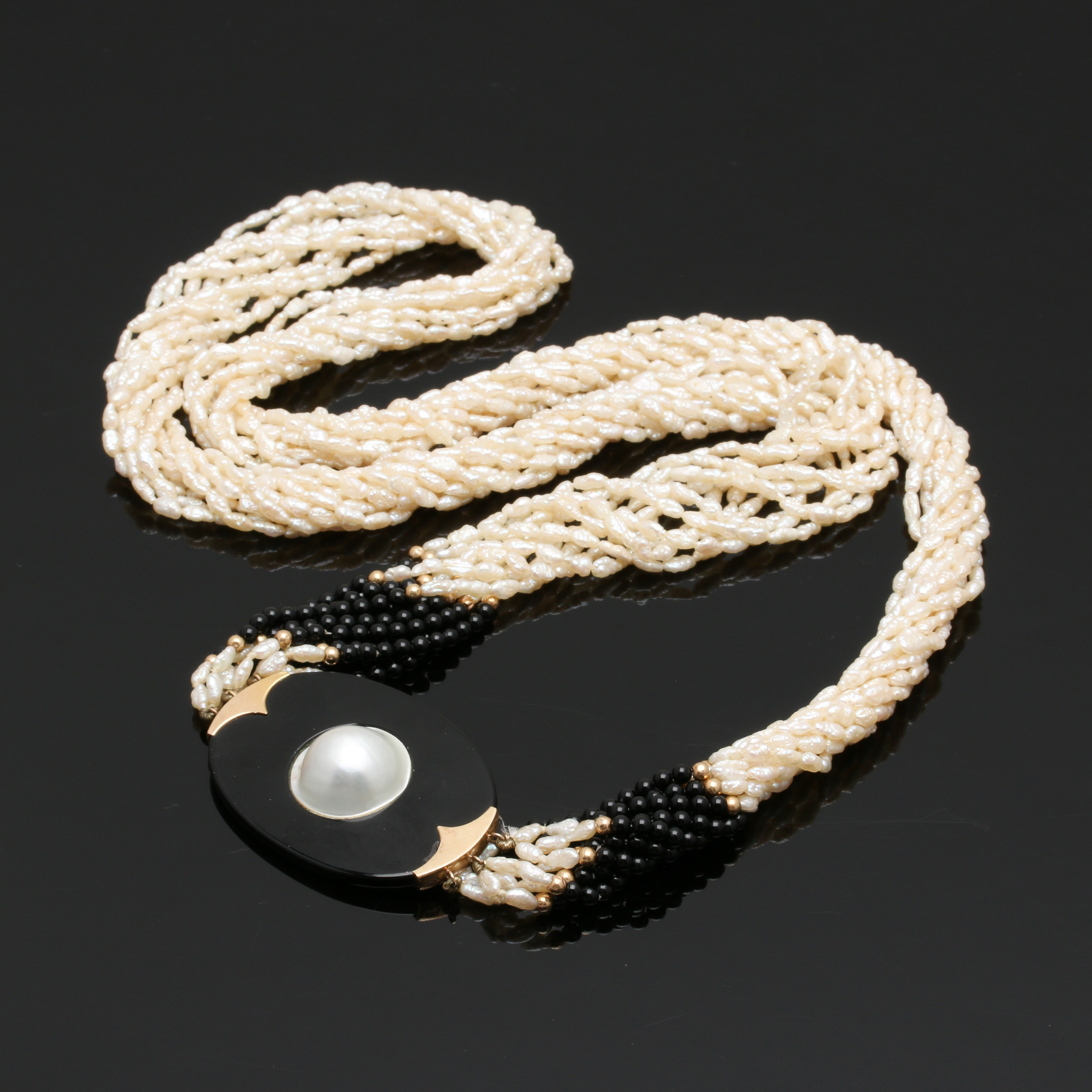 14K Yellow Gold Cultured Pearl and Onyx Necklace
