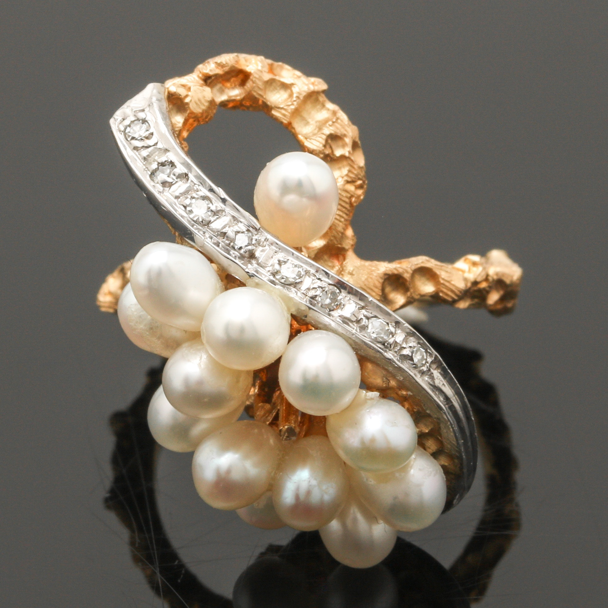 14K Two Tone Gold Cultured Pearl and Diamond Ring
