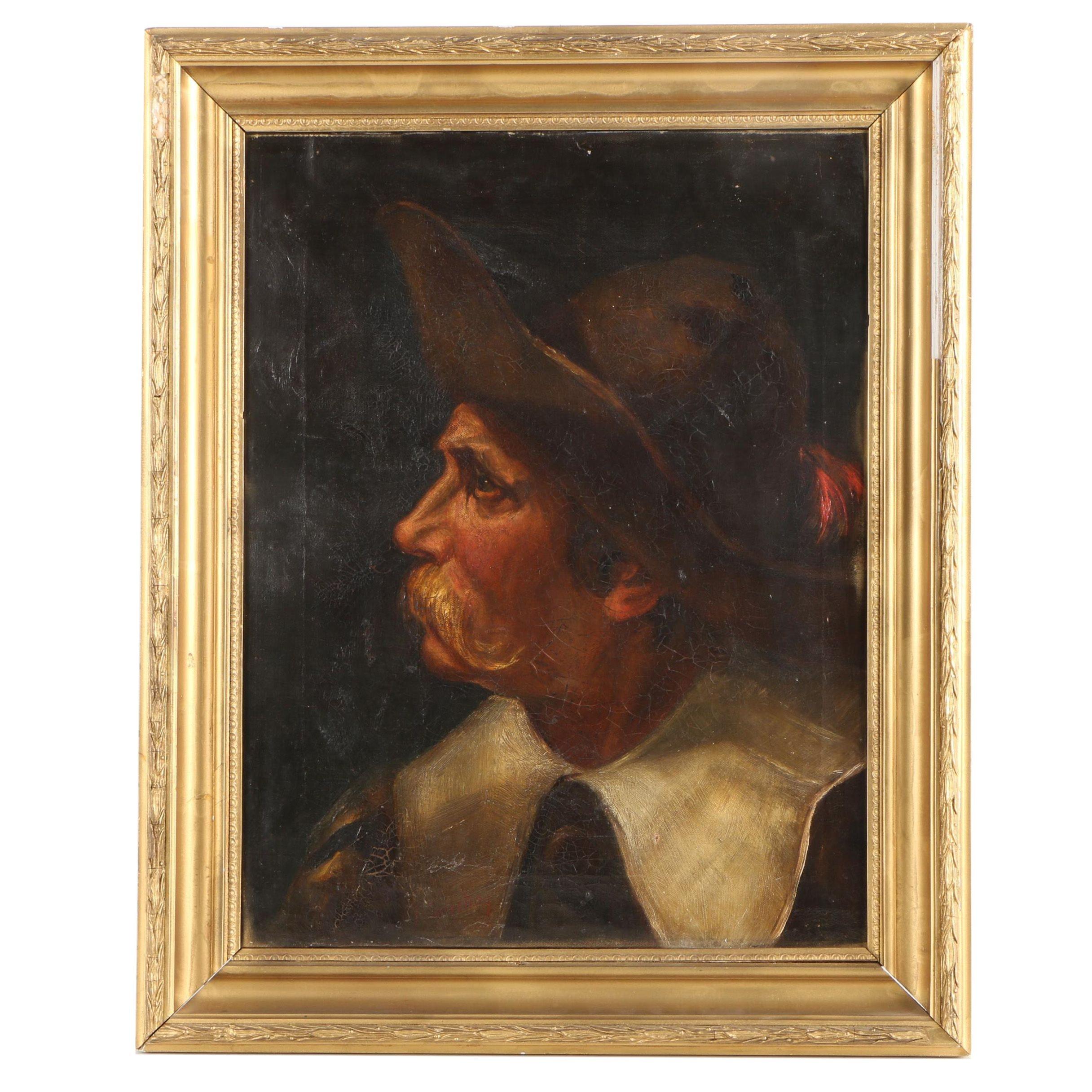 Oil Portrait on Canvas of a Bearded Gentleman