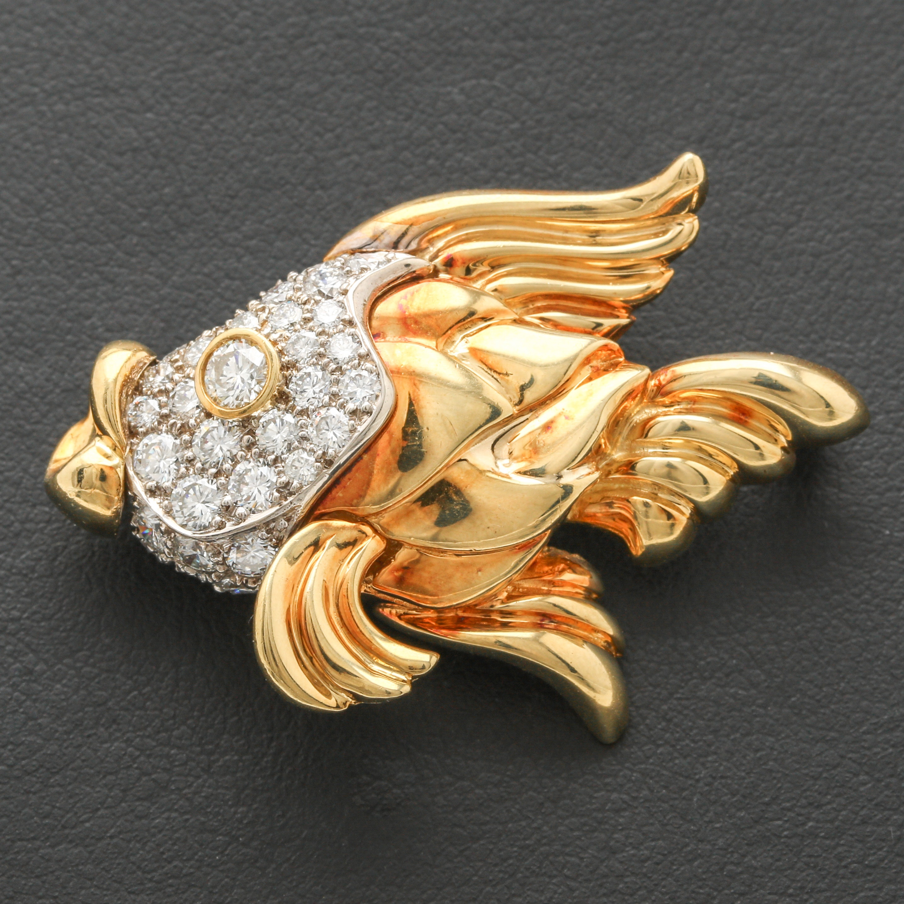 18K and 14K Yellow Gold 1.54 CTW Diamond Fish Brooch