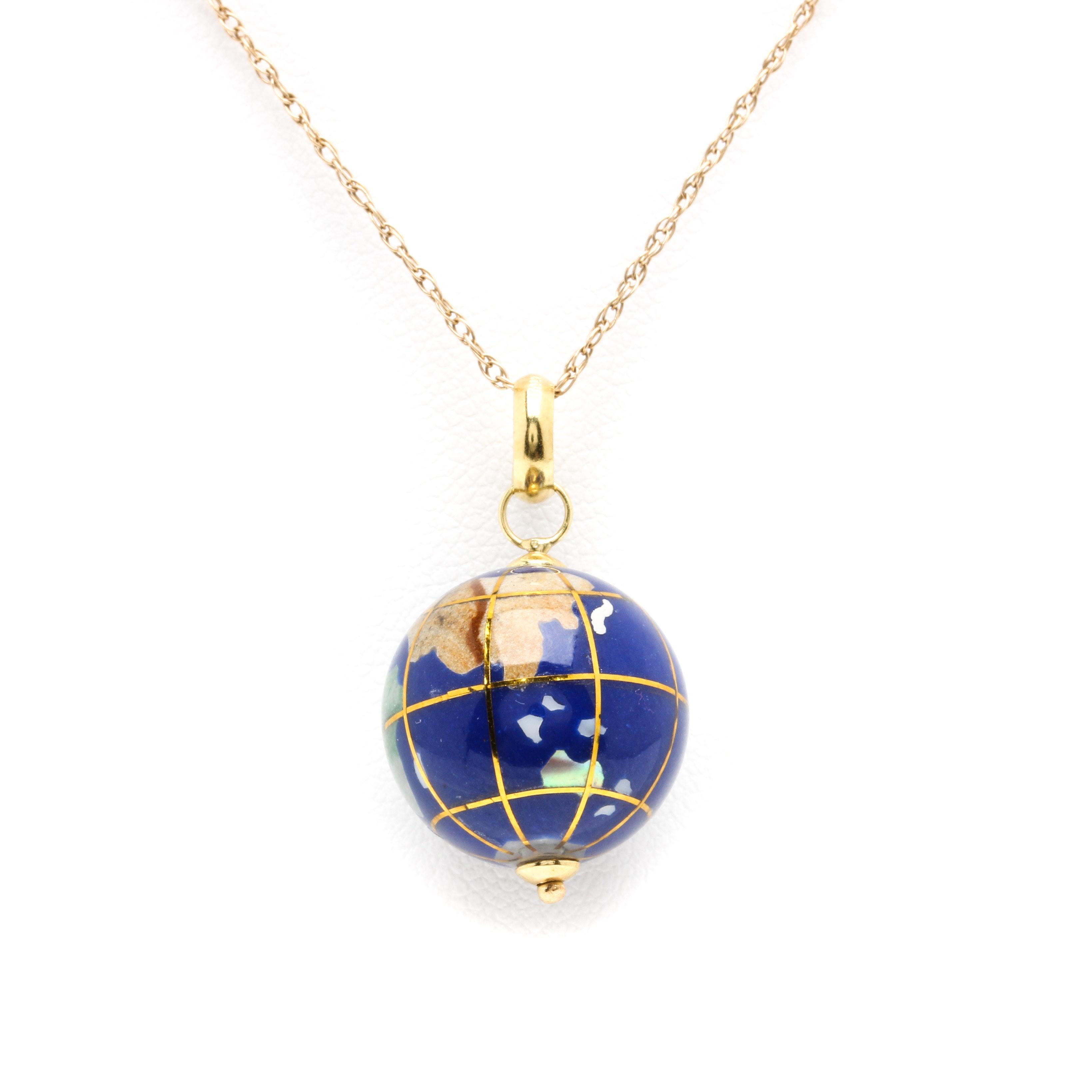 14K Yellow Gold Gemstone Globe Pendant Necklace