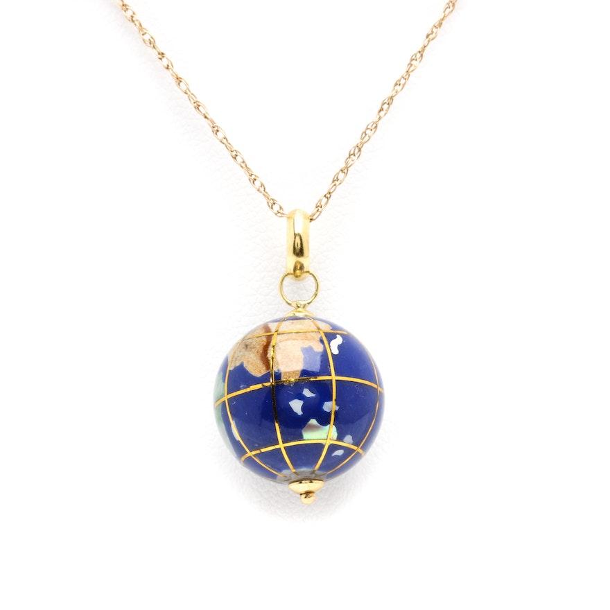 14k yellow gold gemstone globe pendant necklace ebth 14k yellow gold gemstone globe pendant necklace aloadofball Choice Image