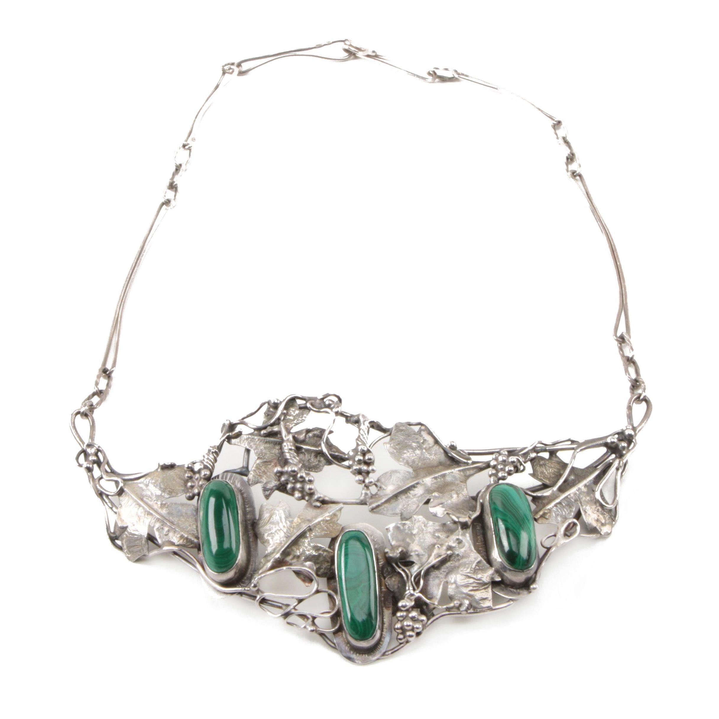 Sterling Silver Malachite Grape Motif Ornate Necklace