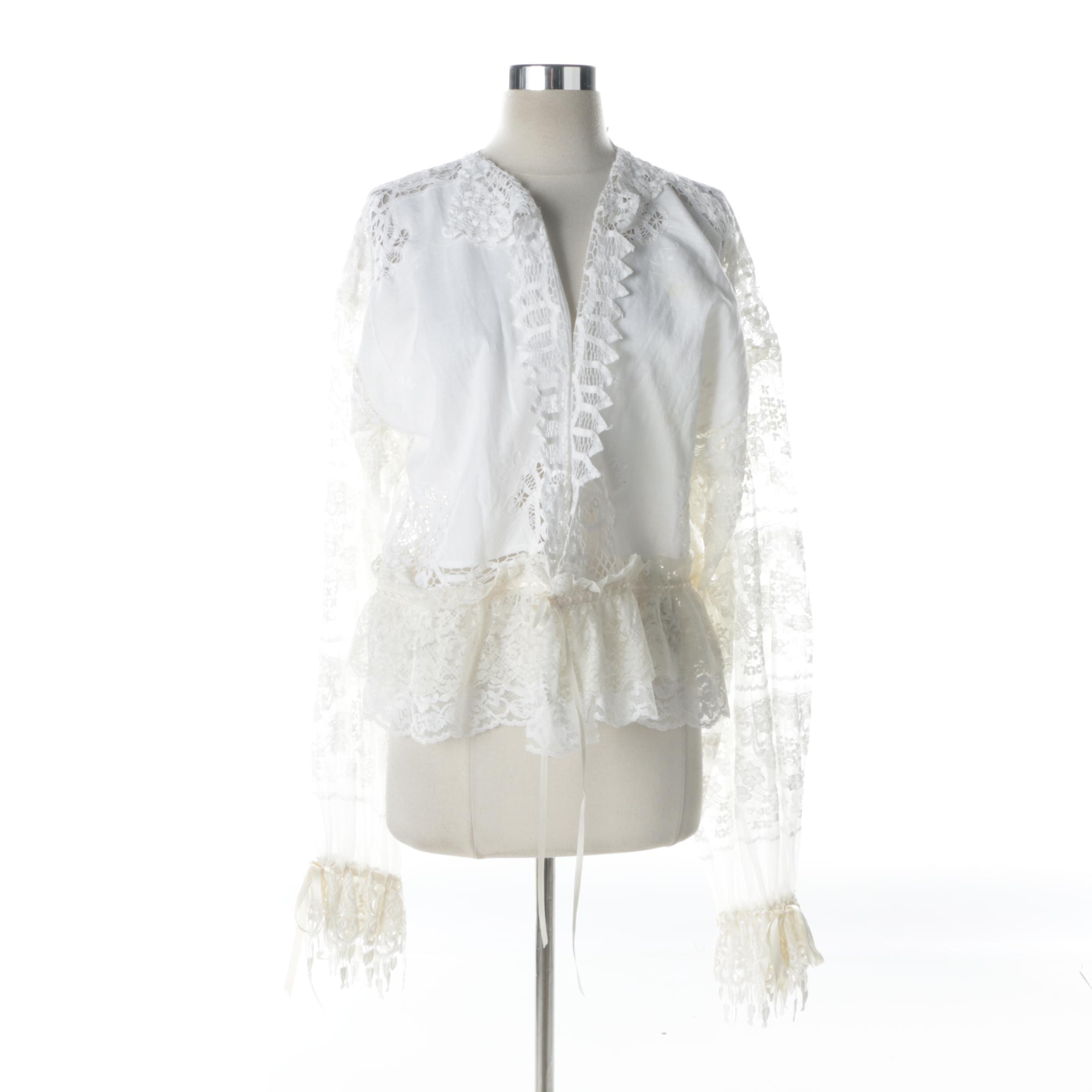 White Cotton and Lace Top