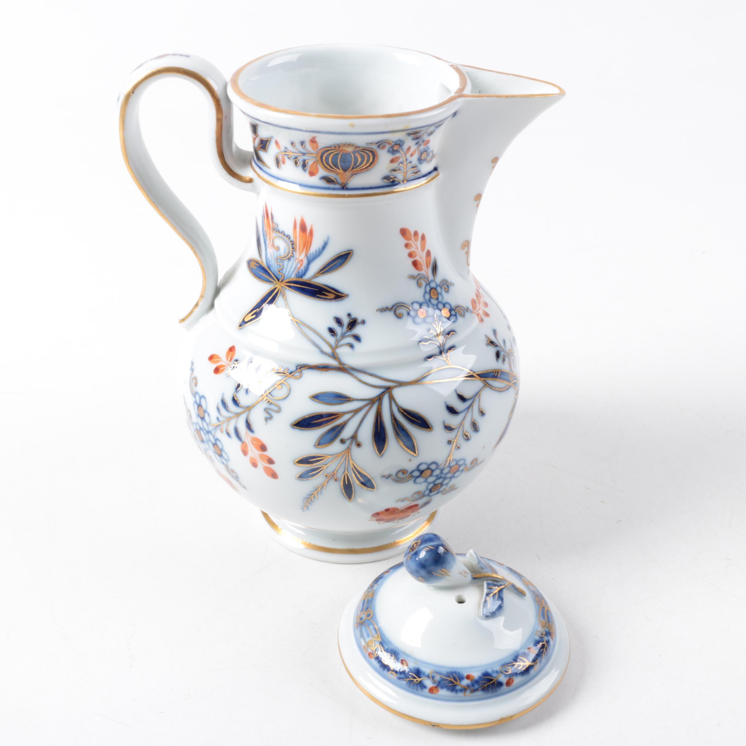 """Meissen """"Blue Onion Rich"""" Hand Painted Porcelain Coffee Pot"""
