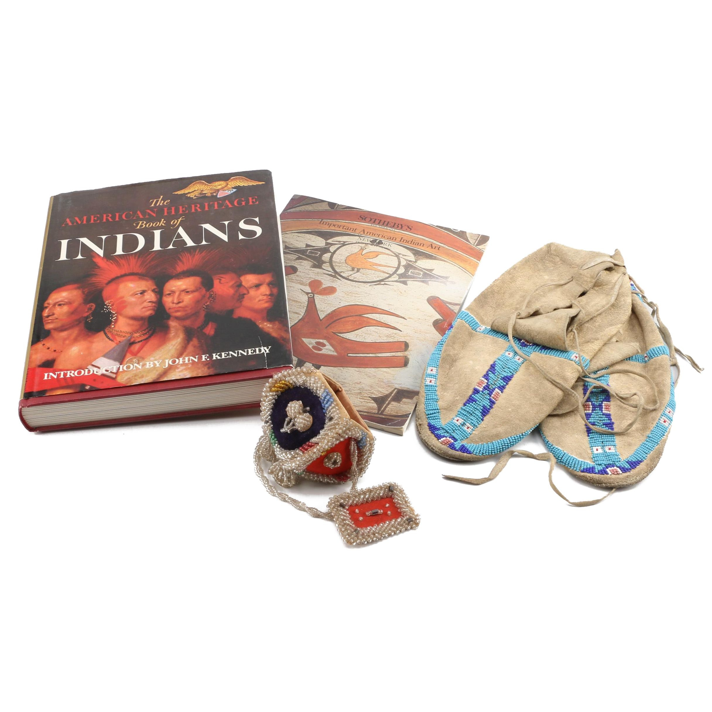 Iroquois Beaded Whimsy, Native American Style Moccasins and Auction Catalog