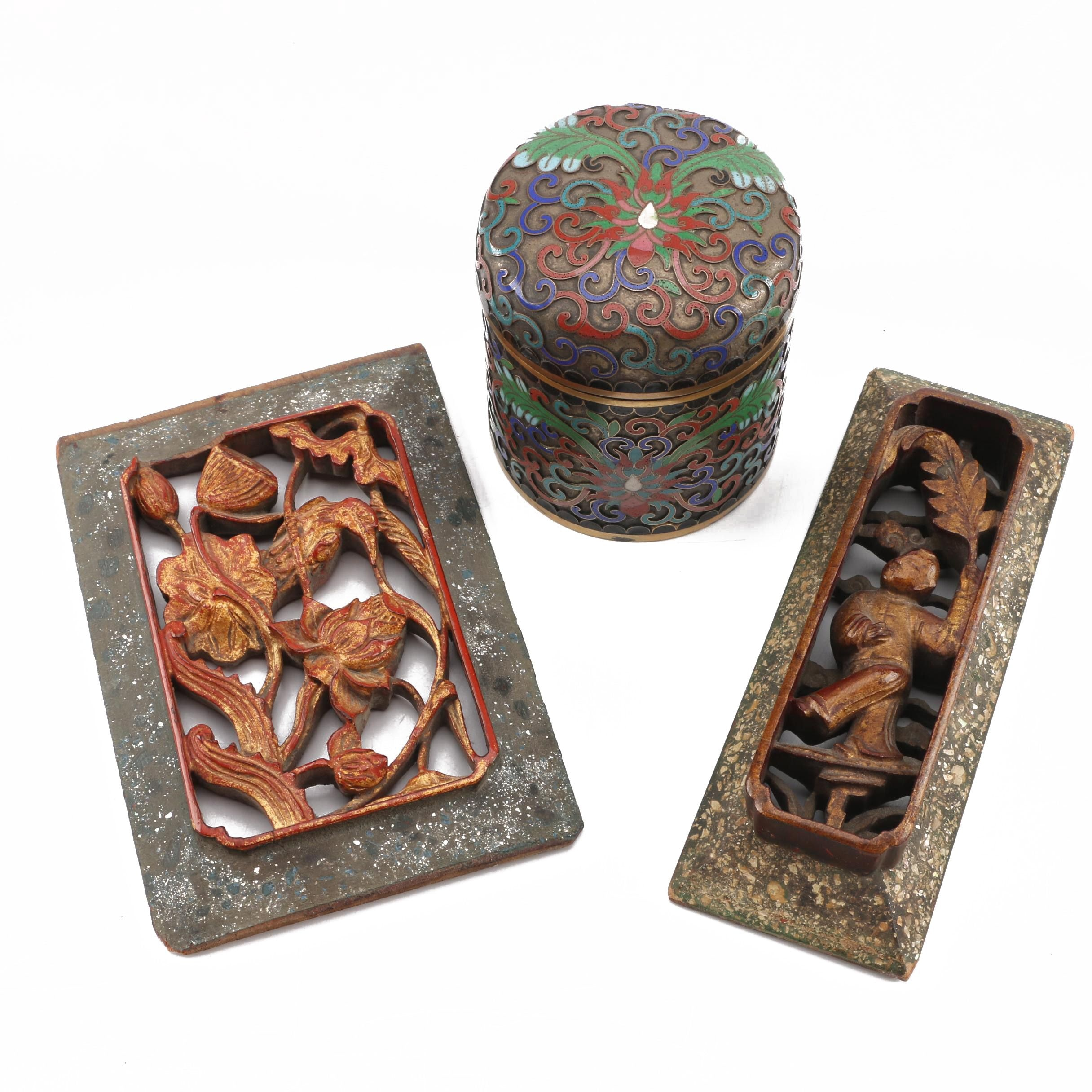 Vintage Chinese Cloisonne Jar and Carved Wall Plaques