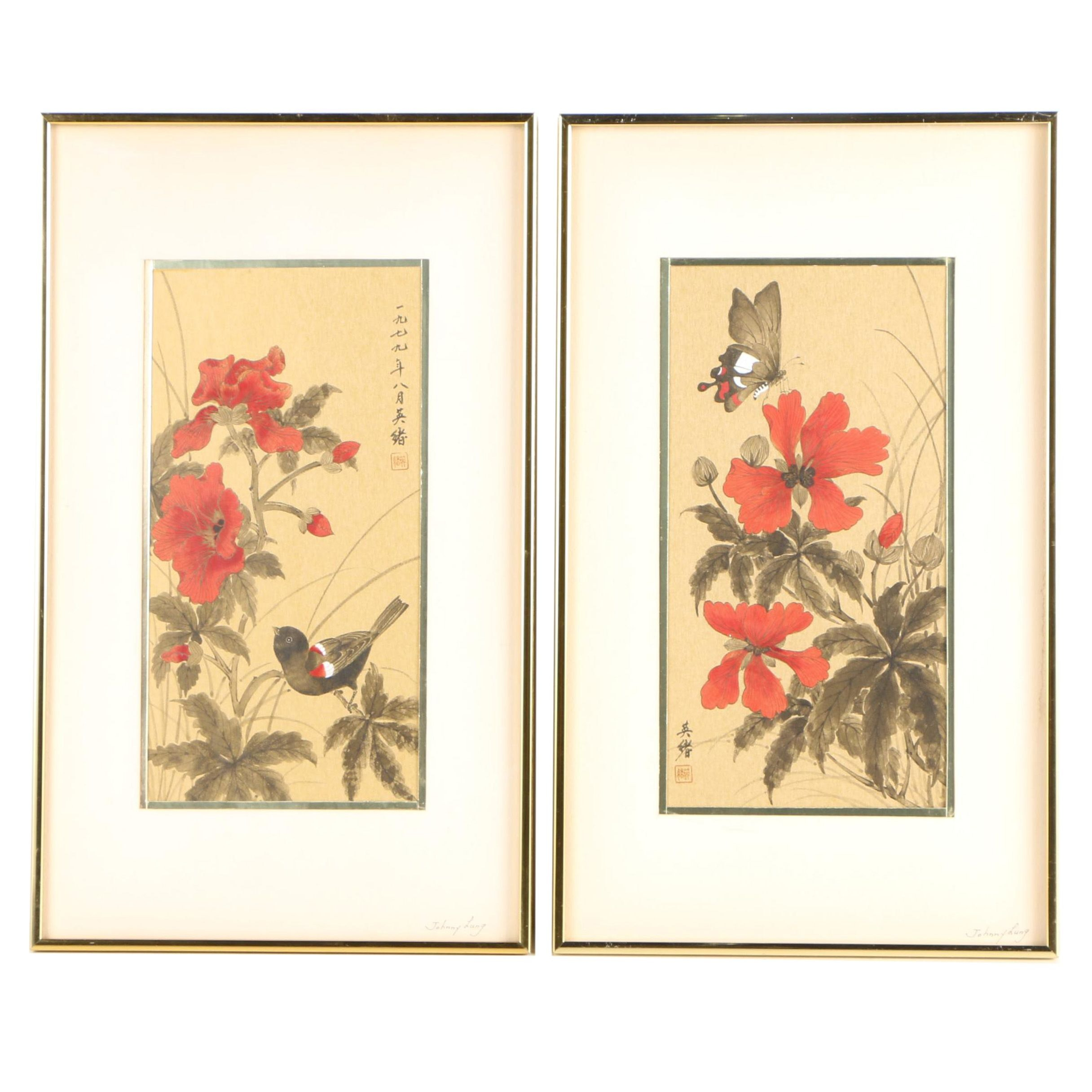 "Johnny Lung Ink and Gouache Paintings ""Butterfly"" and ""Red Winged Black Bird"""