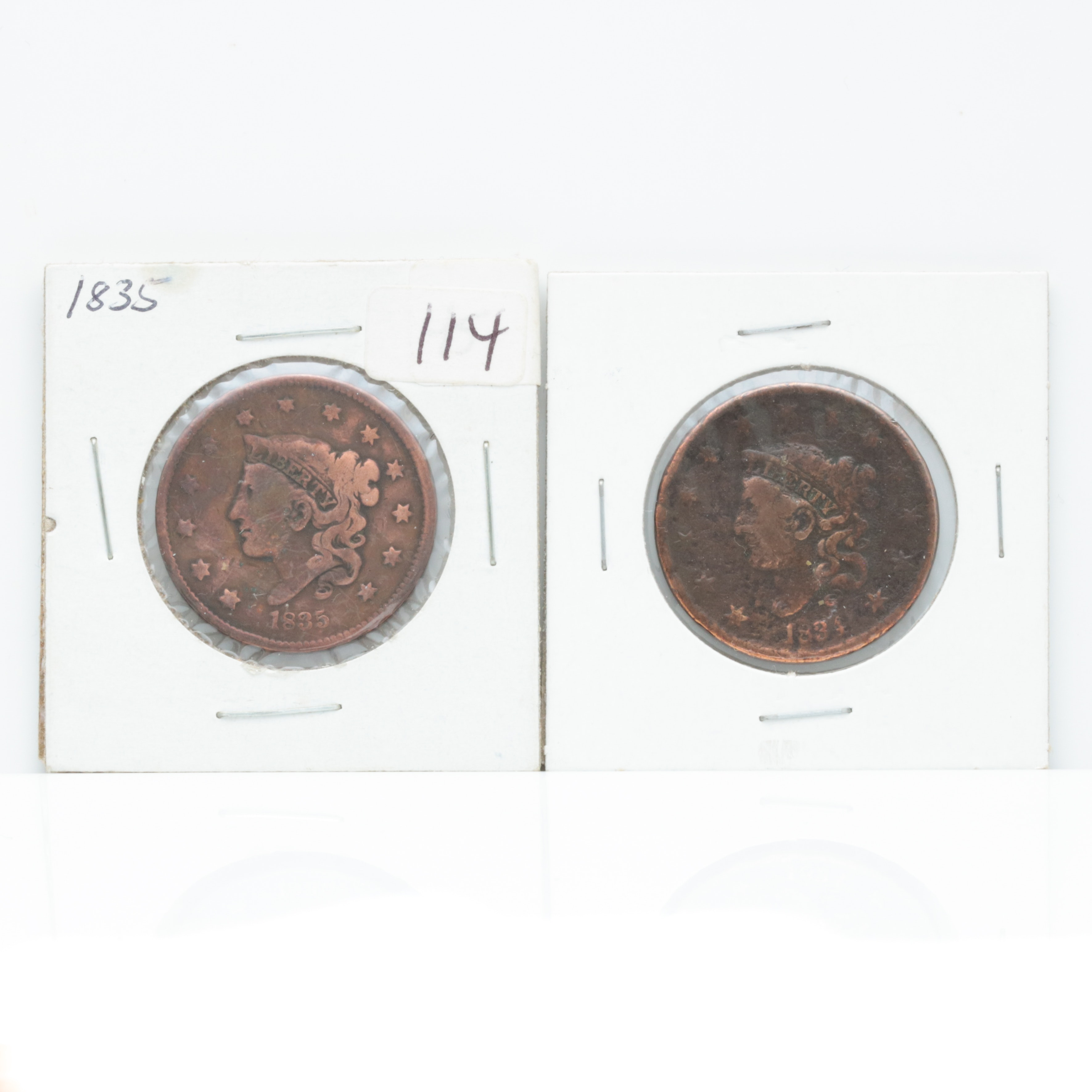 1834 and 1835 Coronet Head Large Cent Coins