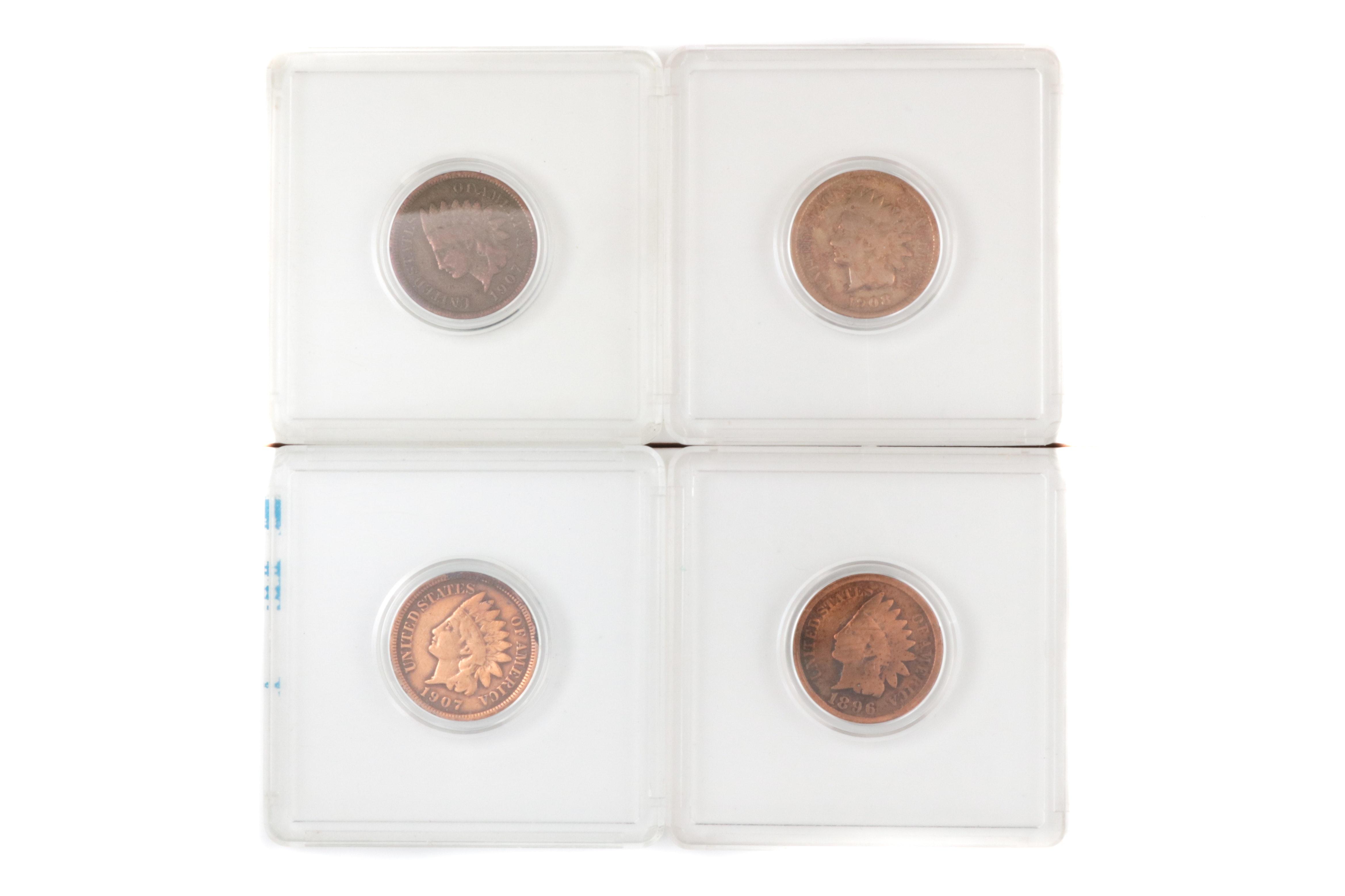 Four Indian Head Pennies