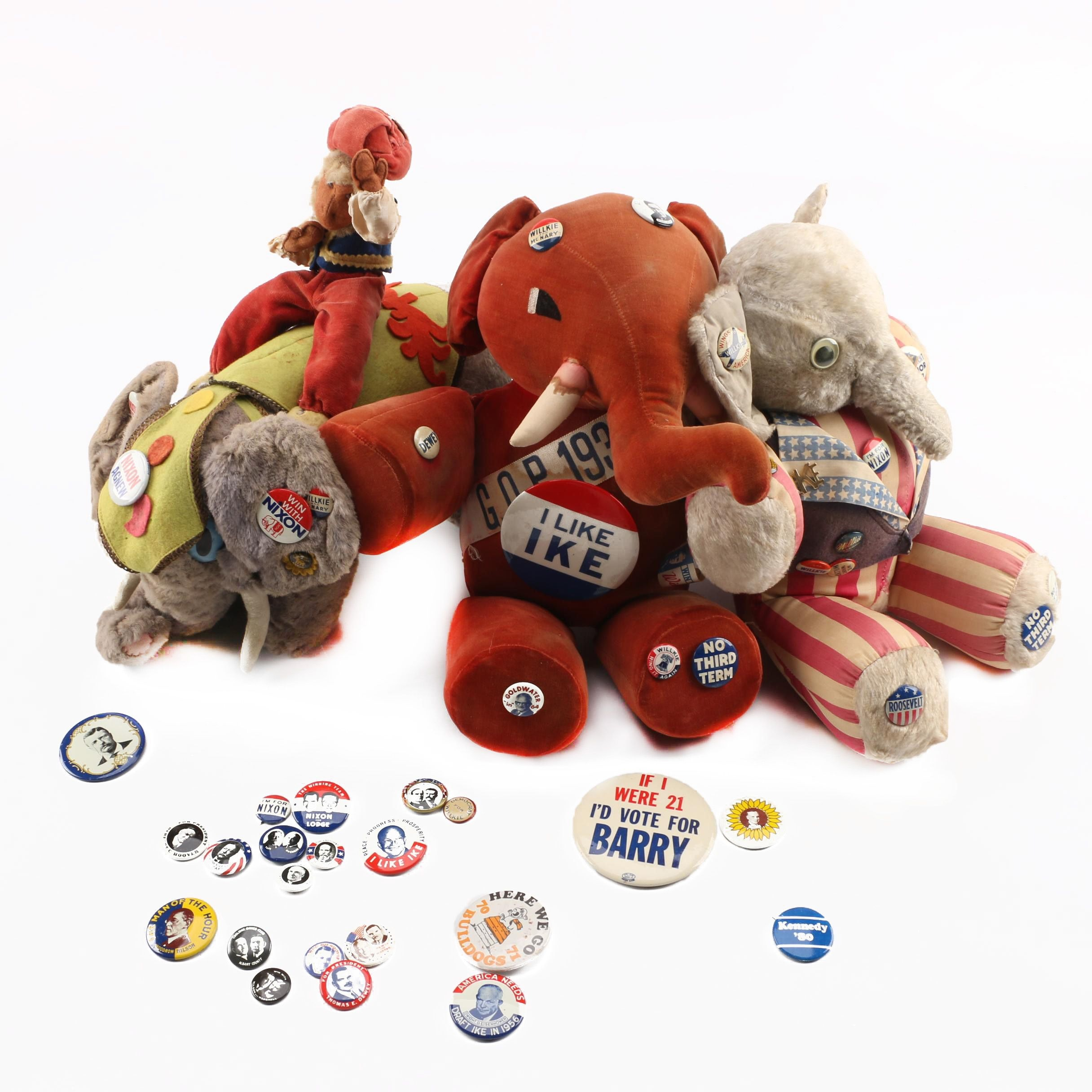 Vintage Stuffed Toys With Political Pinback Buttons