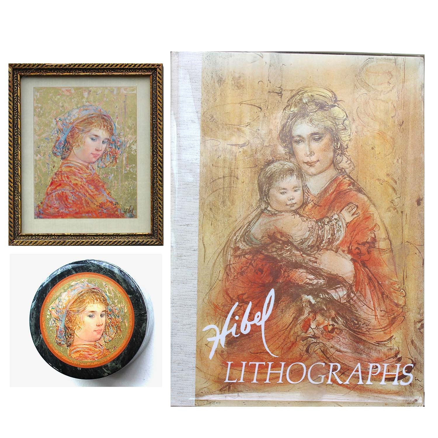 Edna Hibel Offset Lithograph and Gold Leaf on Silk, Dish and Art Book