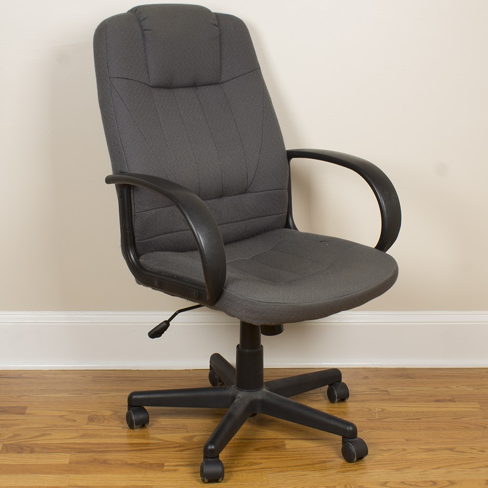 Gray-Upholstered Rolling Office Chair by Swinton Avenue Trading