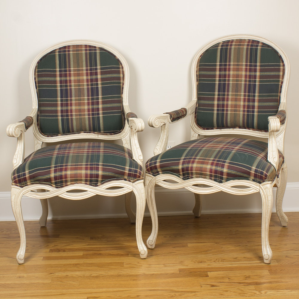 Louis XV Style Armchairs with Plaid Upholstery