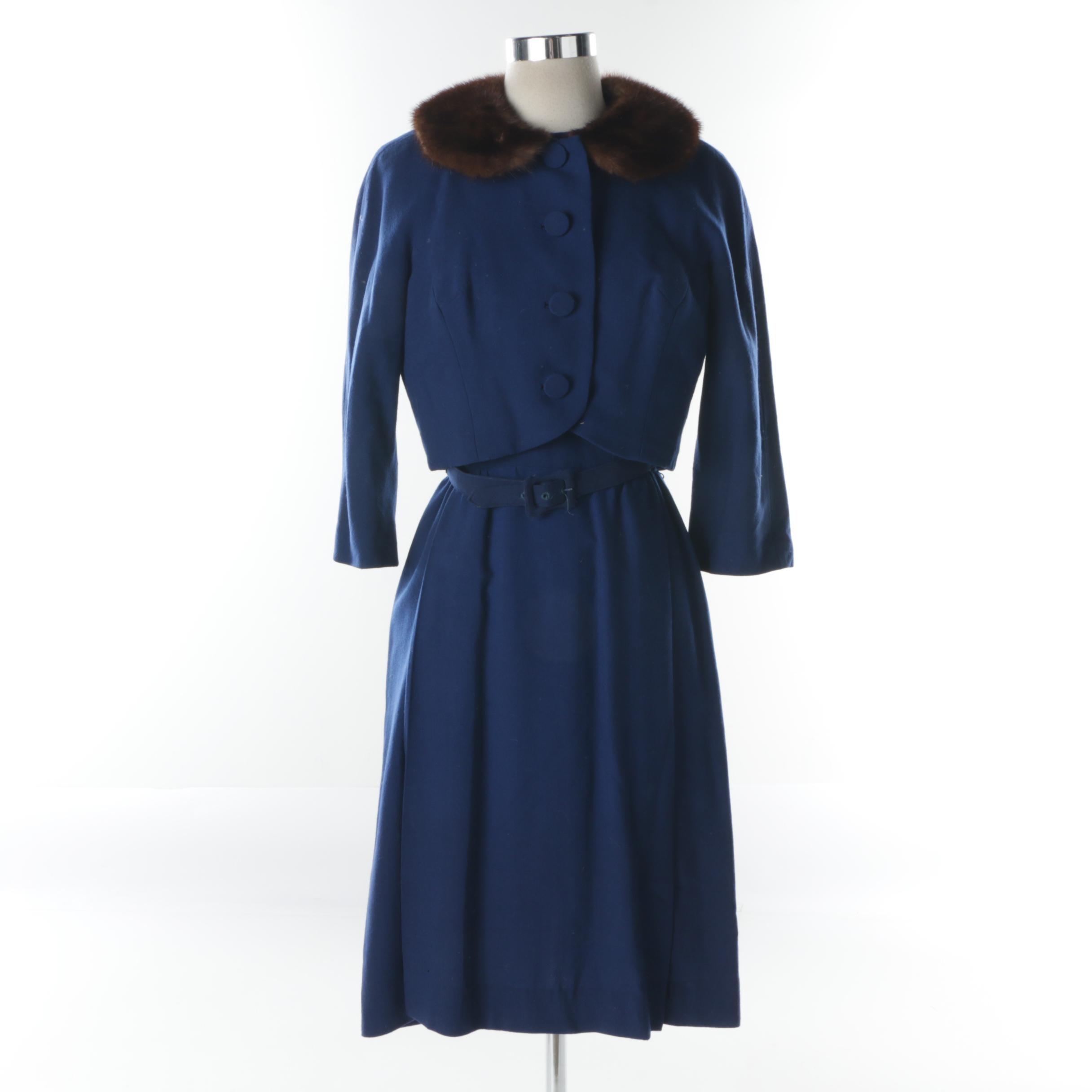 Women's Vintage Abe Schrader Blue Dress and Matching Jacket with Mink Fur Collar
