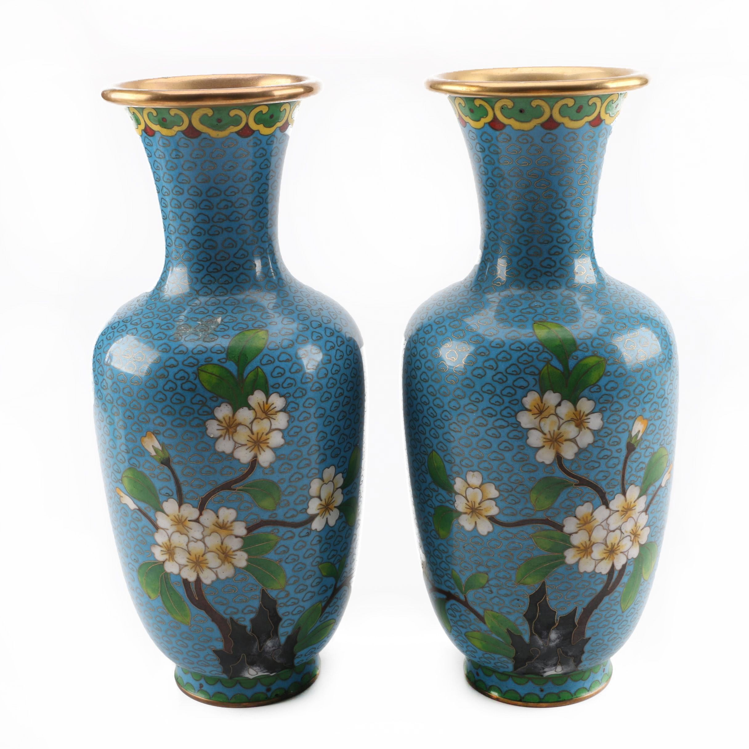 Chinese Cloisonné Vases Depicting Cherry Blossoms