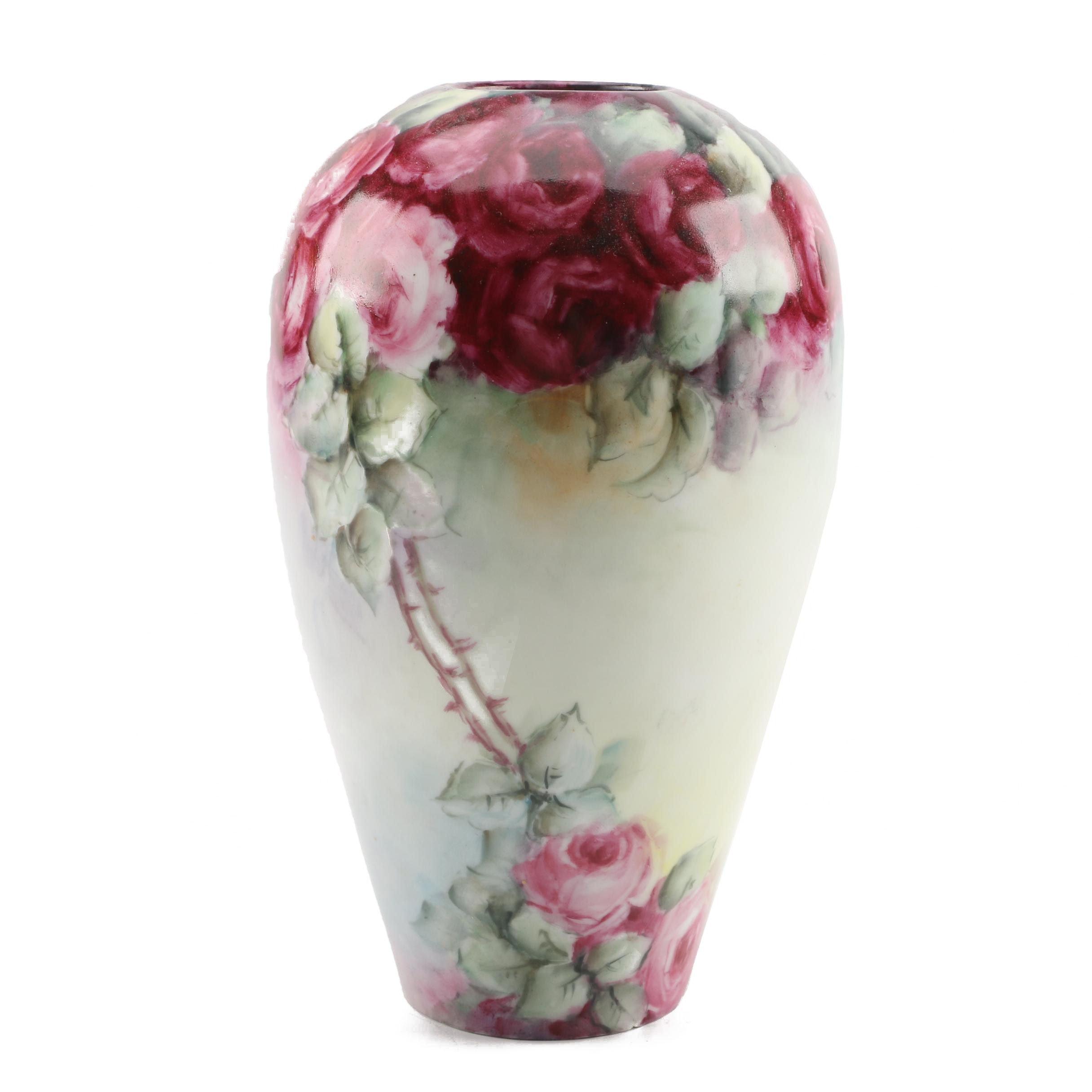 Hand-Painted Porcelain Floral Vase