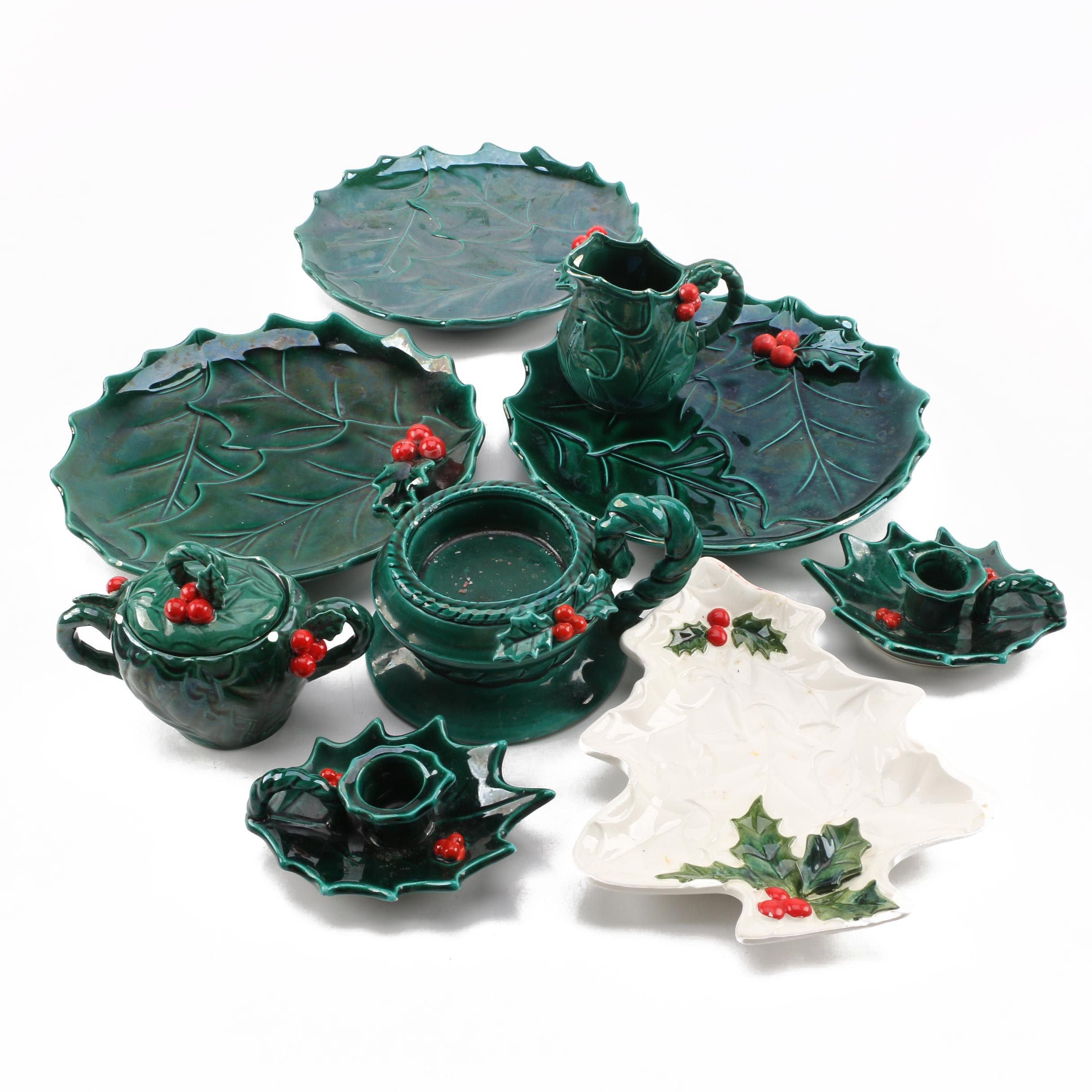 Vintage Lefton Christmas Holly Tableware 1970s