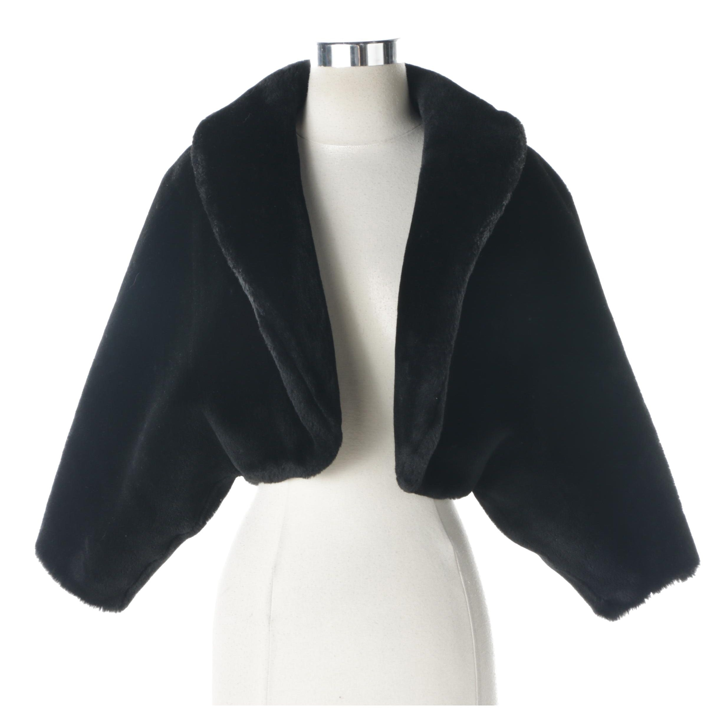 Vintage Princeton's Ollegro Black Faux Fur Cropped Jacket