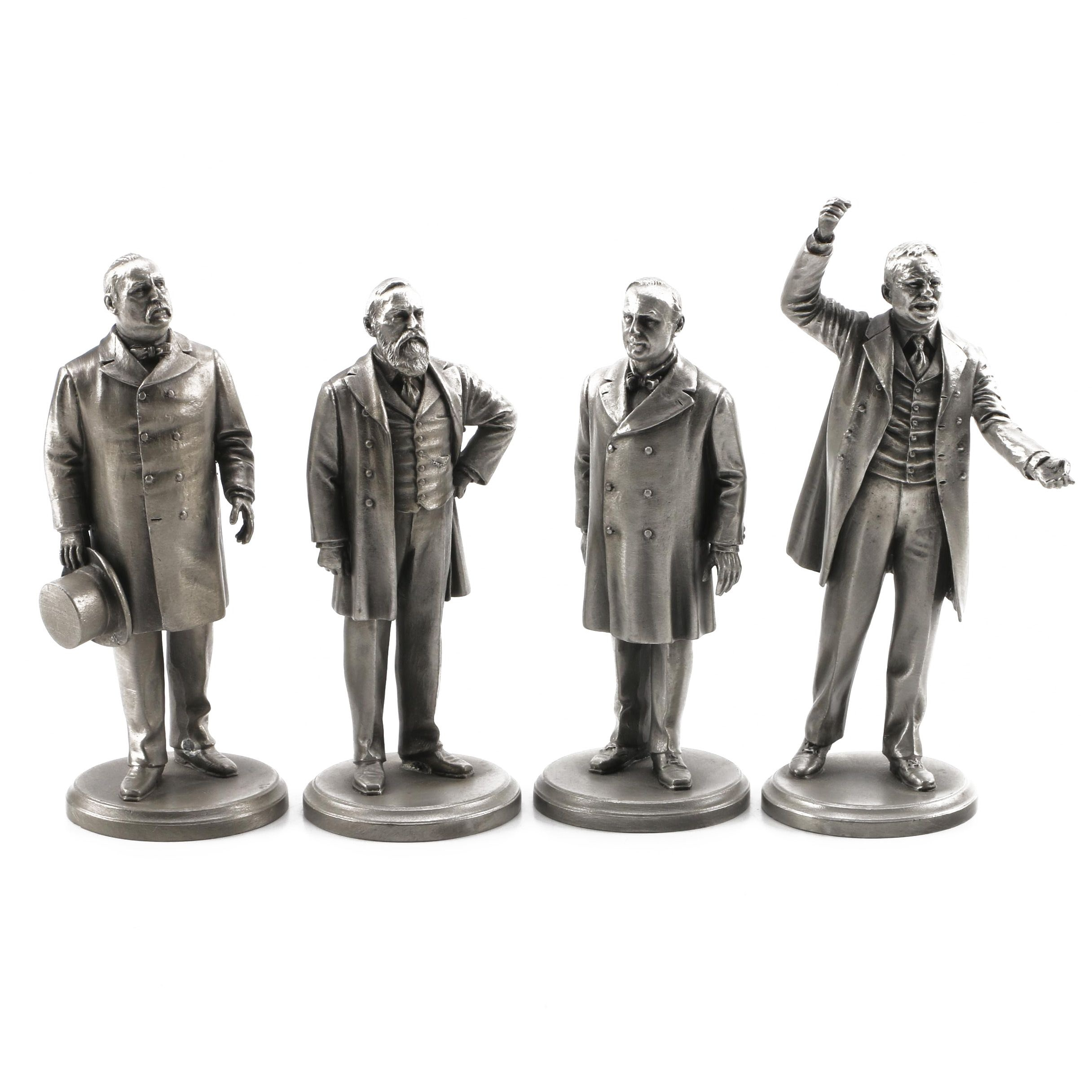 Lance Pewter President Figurines including Cleveland, Harrison, and McKinley