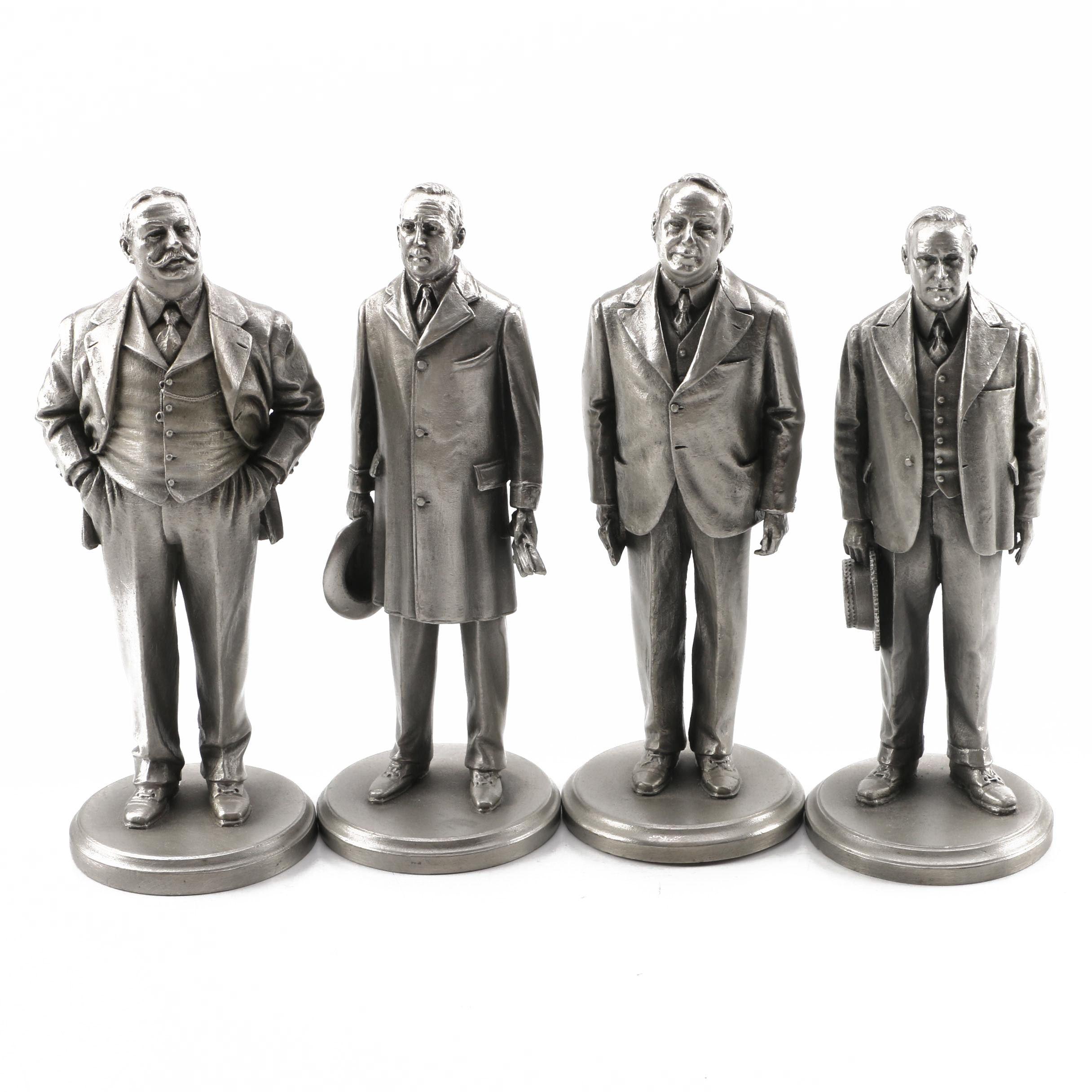 Lance Pewter President Figurines including Taft, Wilson, Harding, and Coolidge