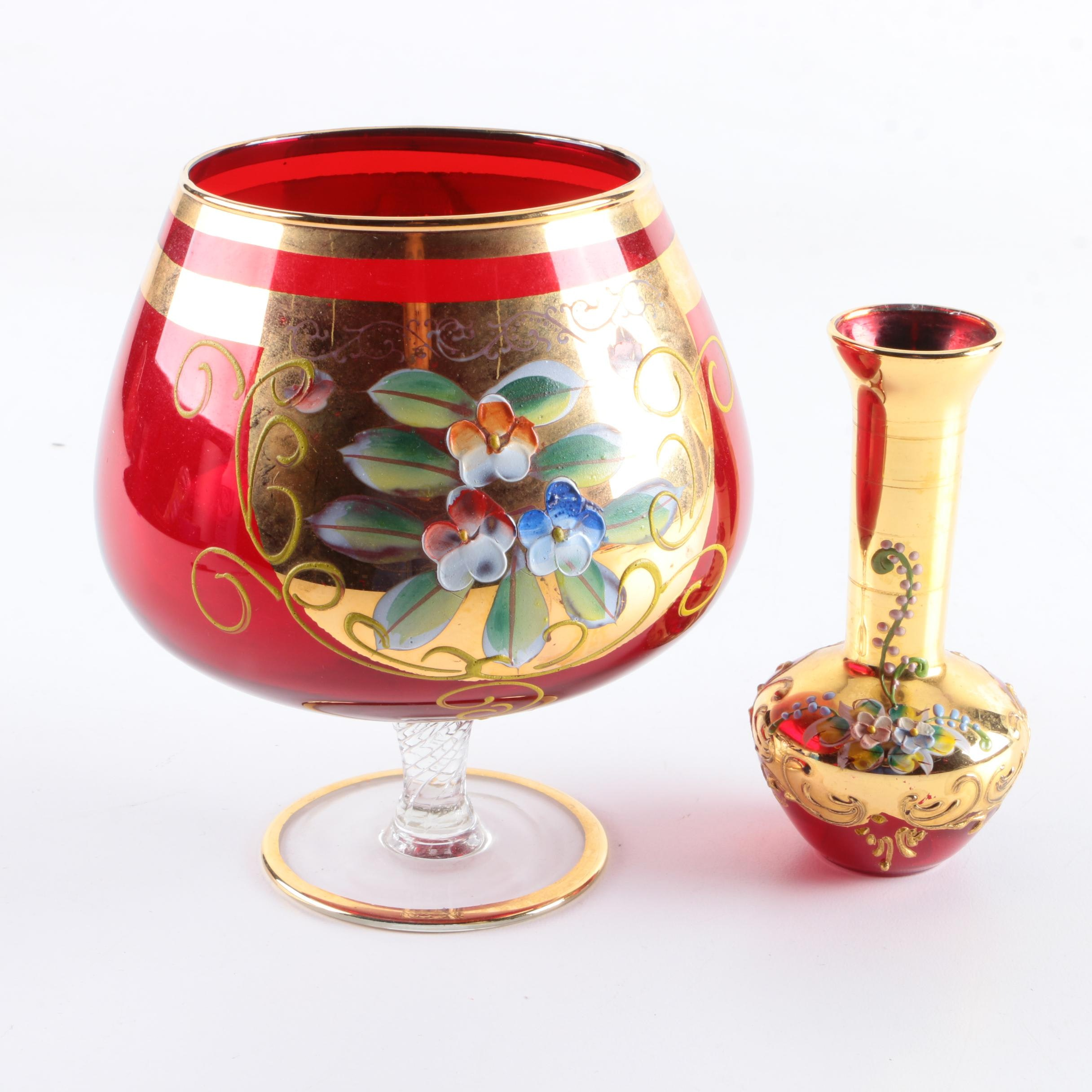 Bohemian Style Gold Painted Tinted Glass Vase and Brandy Glass