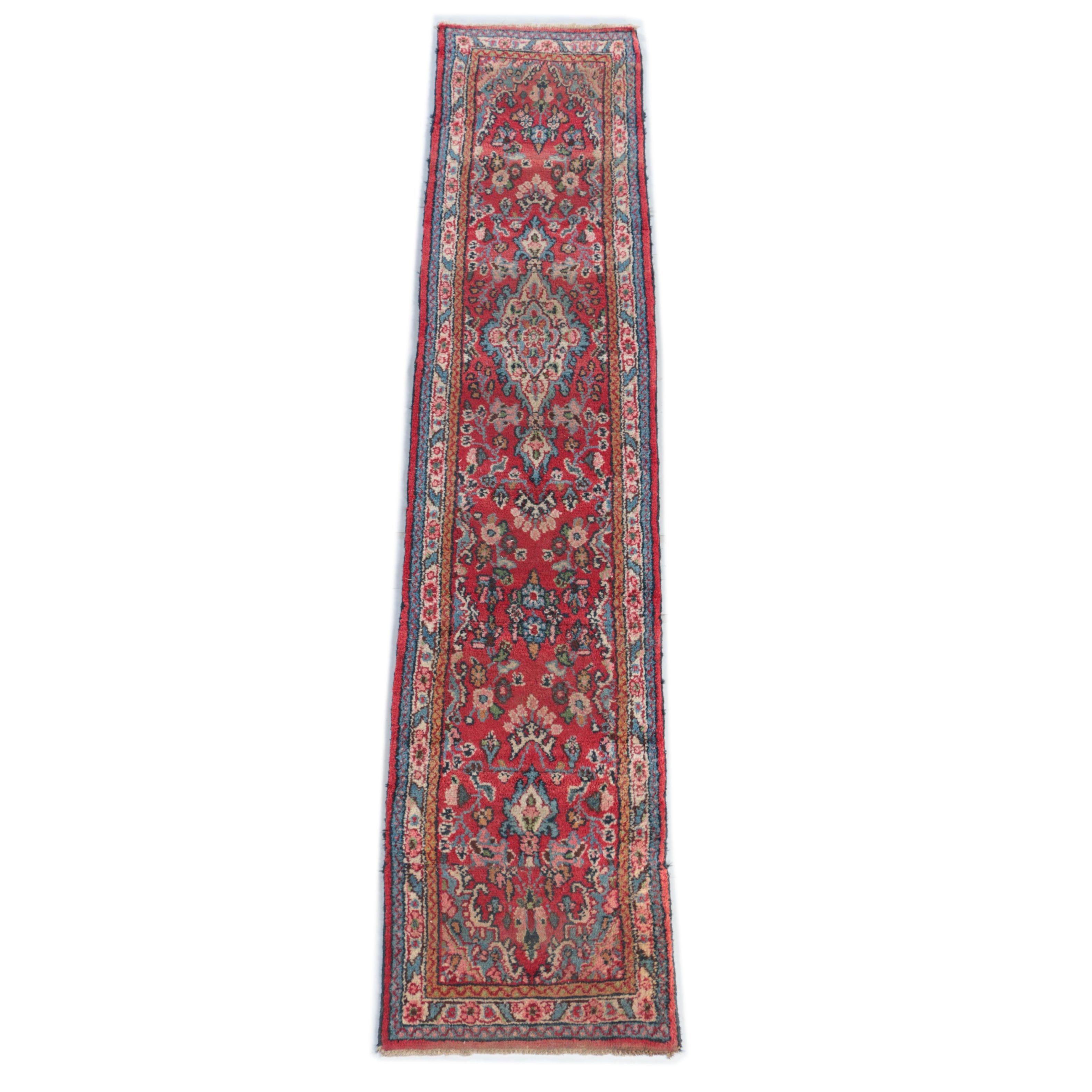 Hand-Knotted Persian Arak Wool Carpet Runner