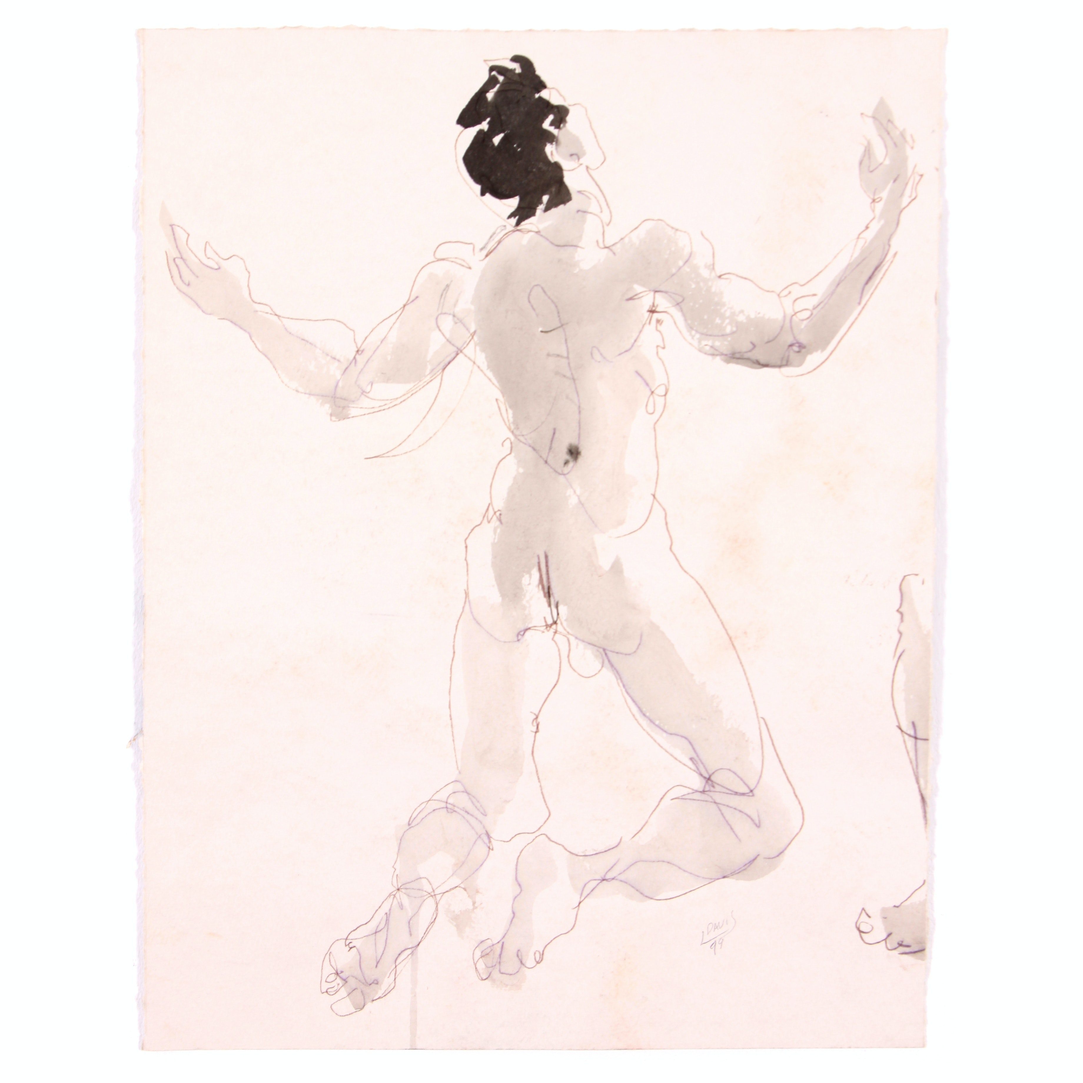 Original Nude Male Figure Study in Watercolor by Lois Davis