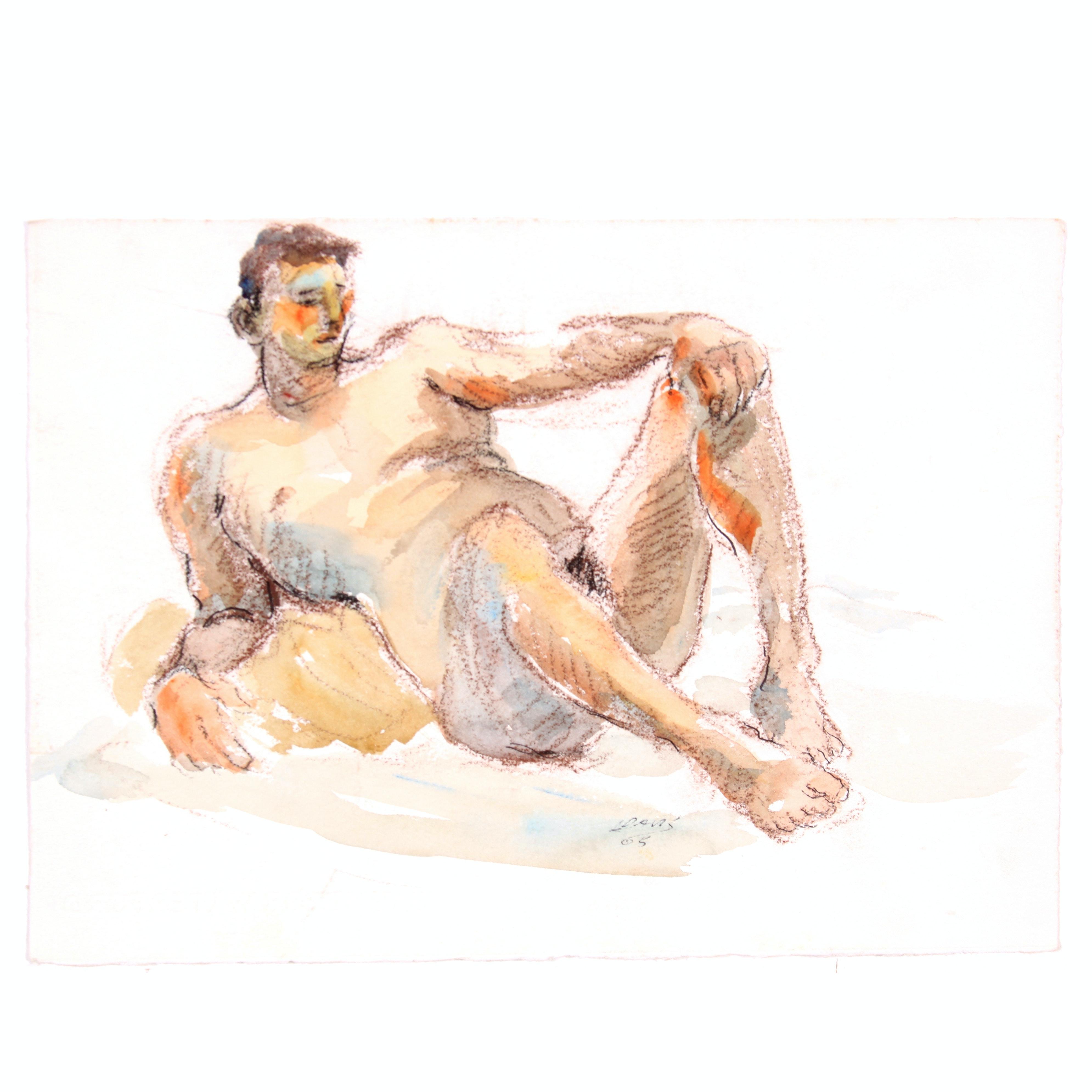 Lois Davis Original Reclining Male Nude Mixed Media Painting