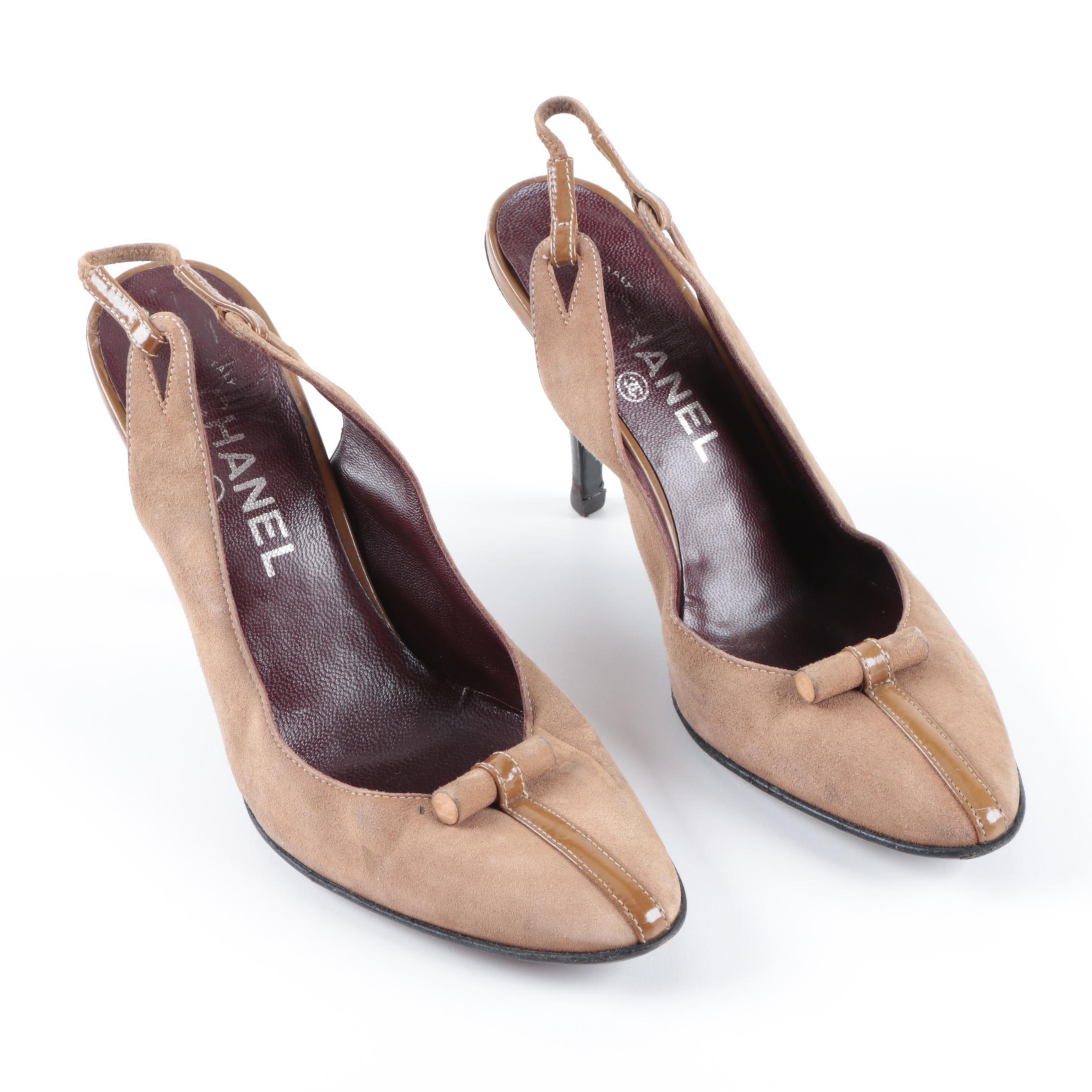 Women's Chanel Suede Slingback Heels